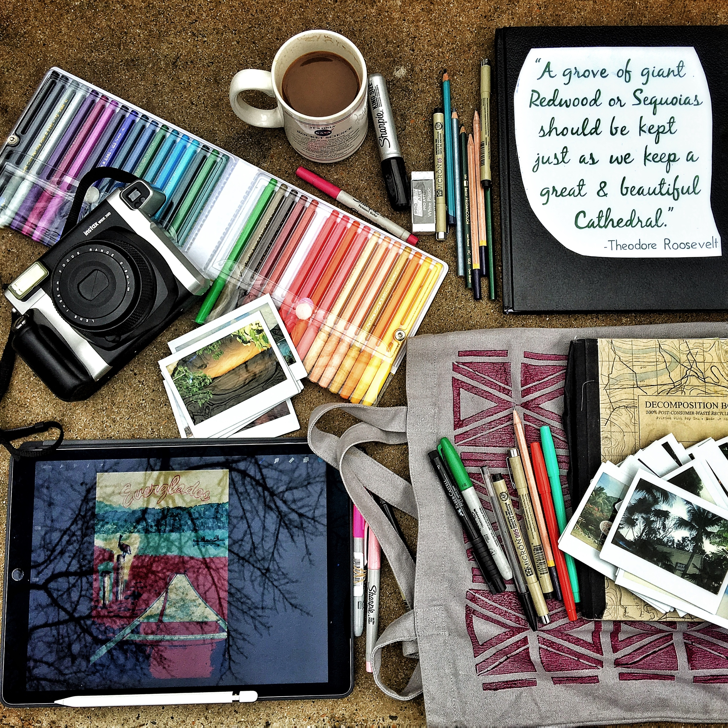 Artist bag spills over in the Great Smoky Mountains to reveal an iPad Pro, Apple Pencil, Pentel pens, and other sketching goodies. Now, to find the time...