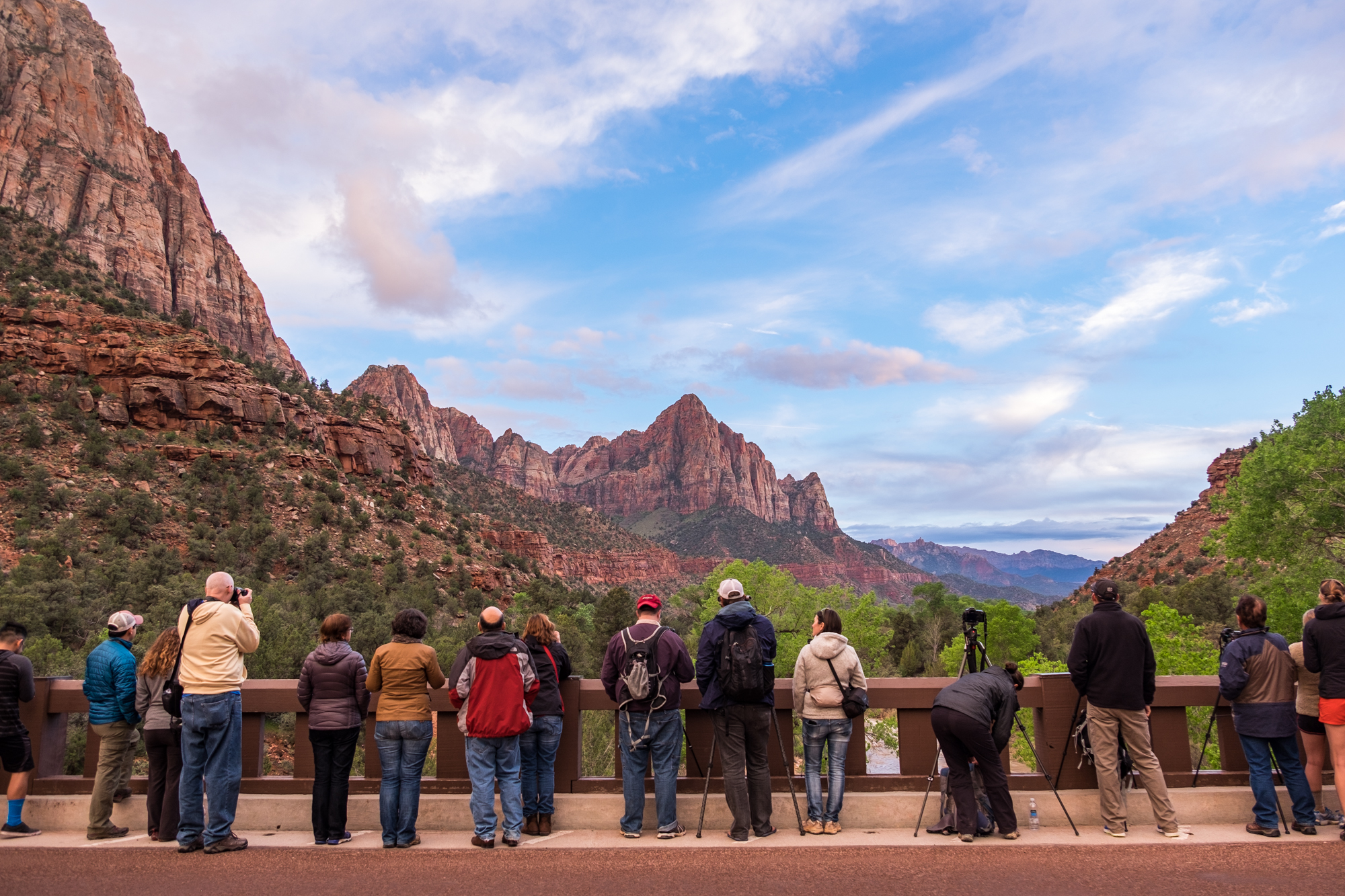 Photographers line up to photograph the Watchman at sunset. Can you spot Jonny? He nabbed the best spot on the bridge!