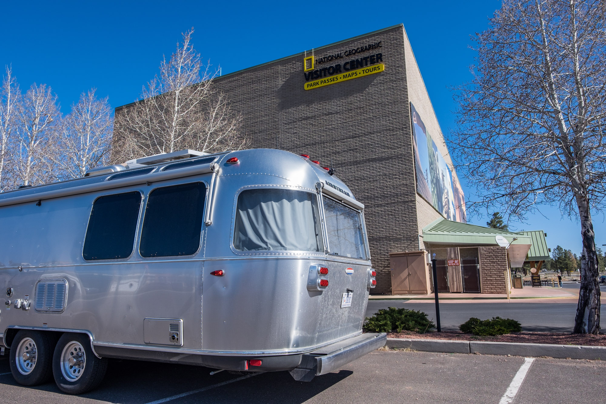 Wally the Airstream hits up the National Geographic Visitor Center outside of Grand Canyon National Park in northern Arizona.
