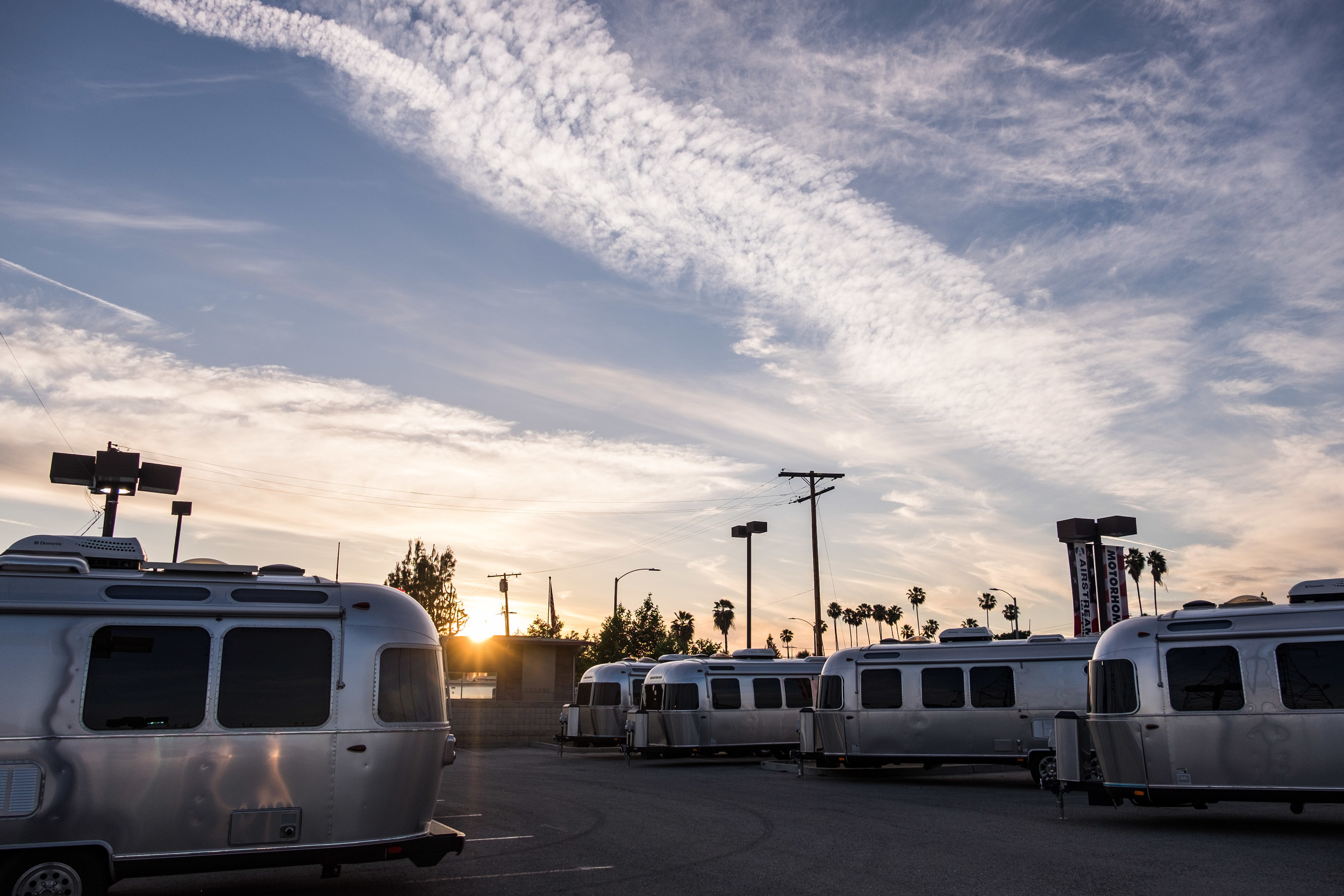 Airstream's aligned at Airstream Los Angeles (on our way out of town to Park #21.)