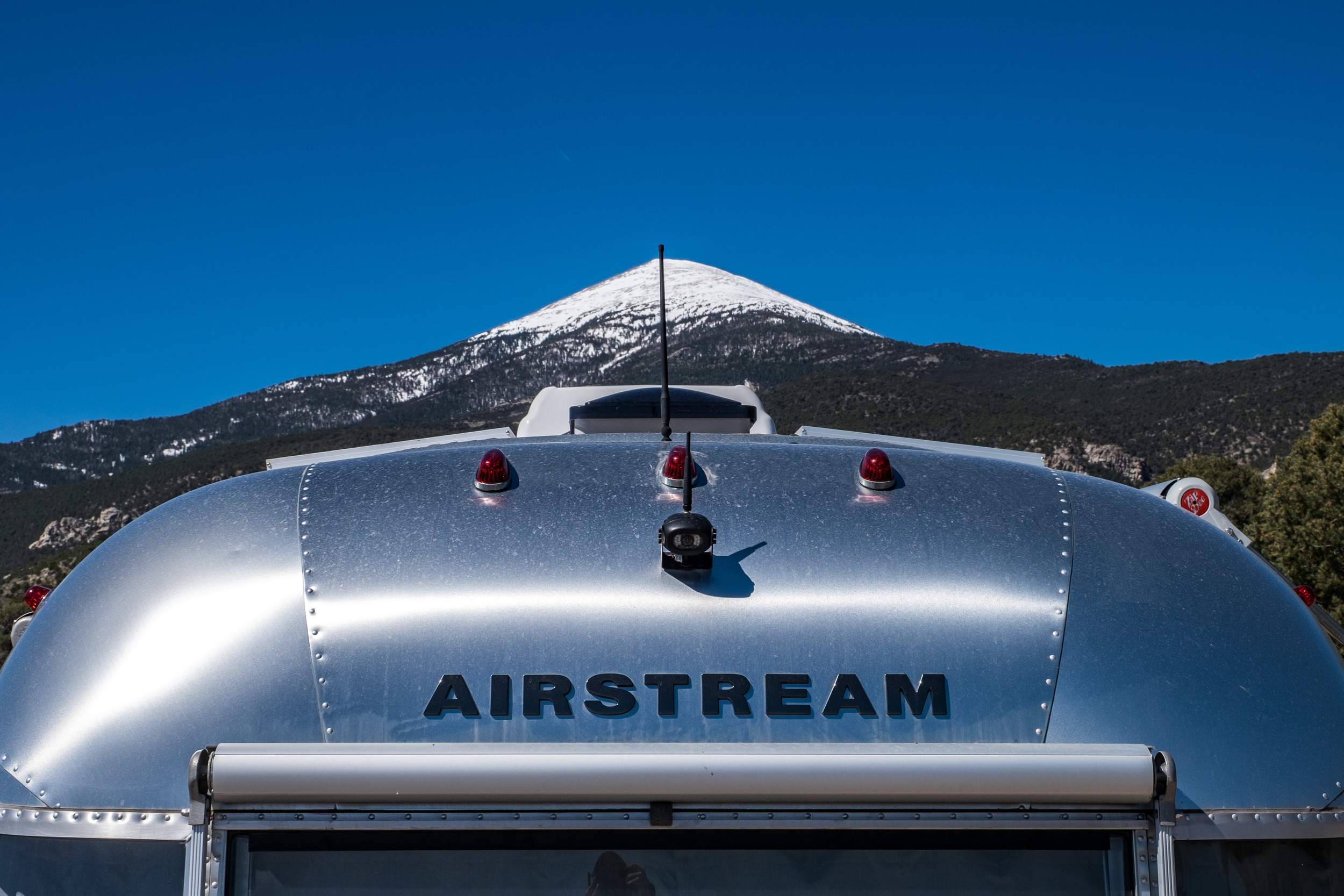 The Airstream logo looks mighty find with a beautiful Nevada mountain in the background.
