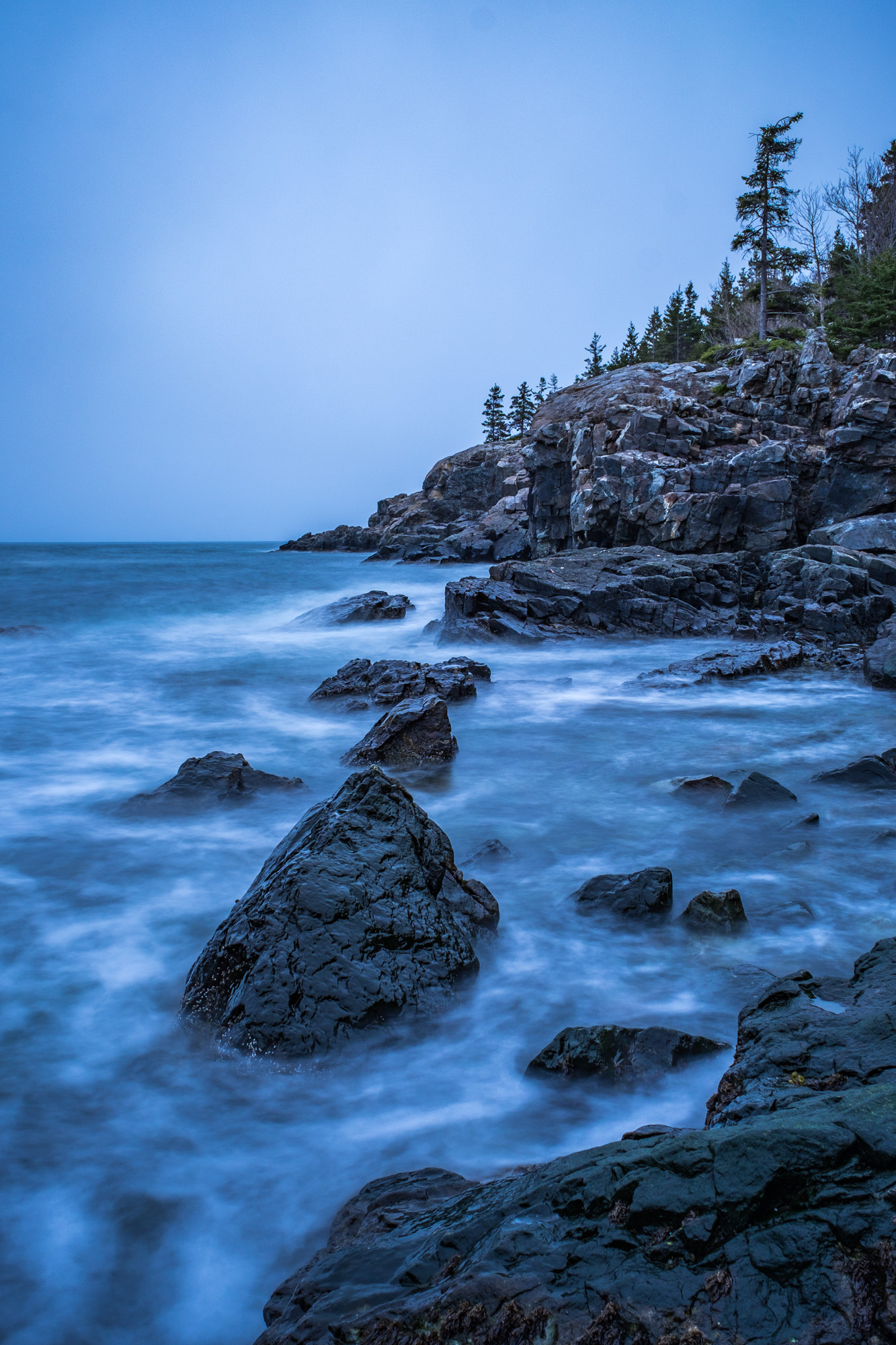 We ended up at Schooner Head near dusk. I love the moody feel of this photo....typical Maine weather.