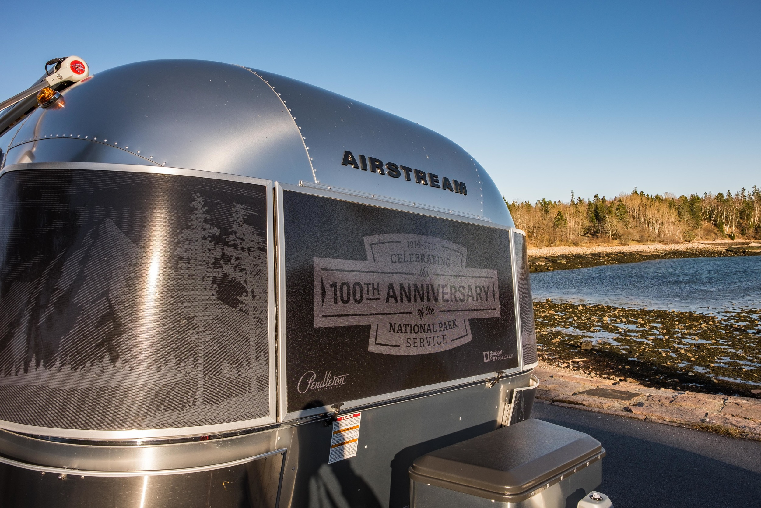The Pendleton Limited Edition National Parks Airstream makes way in Acadia National Park in Maine.