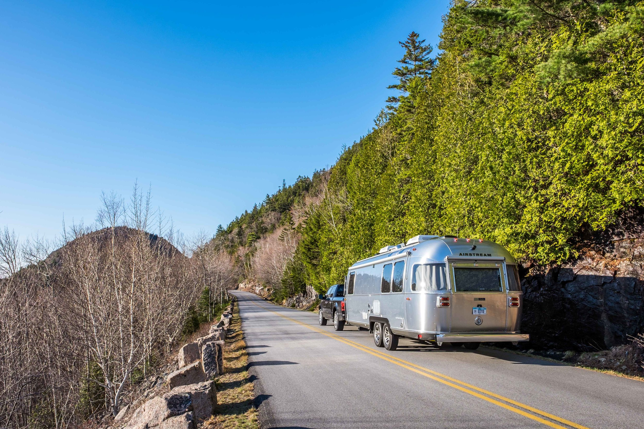 The Pendleton Limited Edition National Parks Airstream on Park Loop Drive in Acadia National Park in Maine.