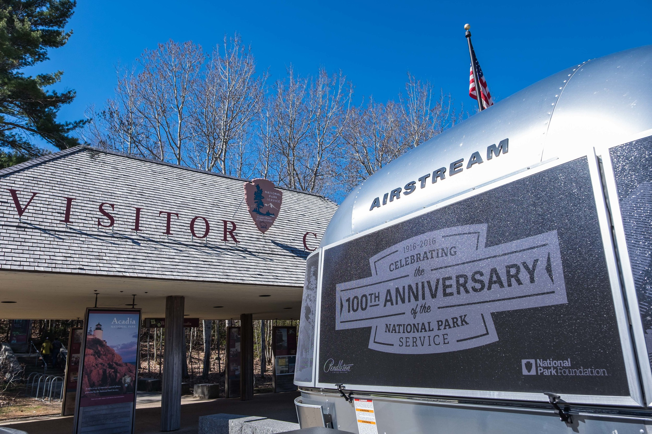 The Pendleton Limited Edition National Parks Airstream makes an important stop at the Acadia National Park Visitor Center in Maine.