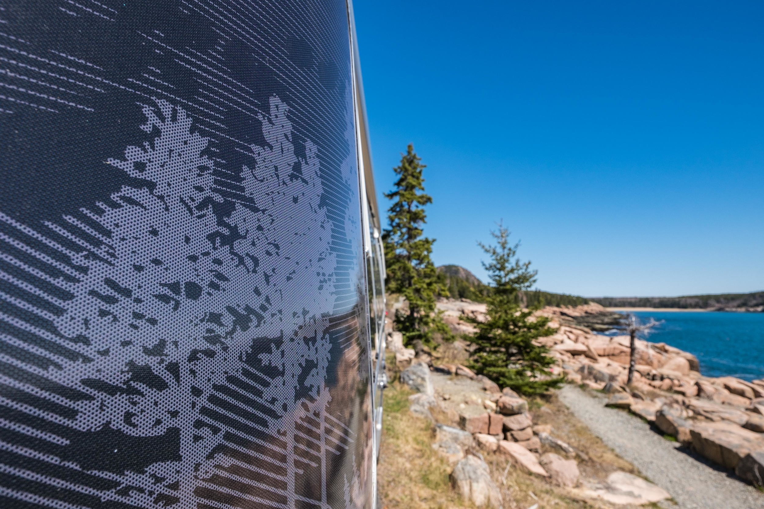 We think that it was Acadia that may have inspired the tree etchings on the Pendleton Airstream.
