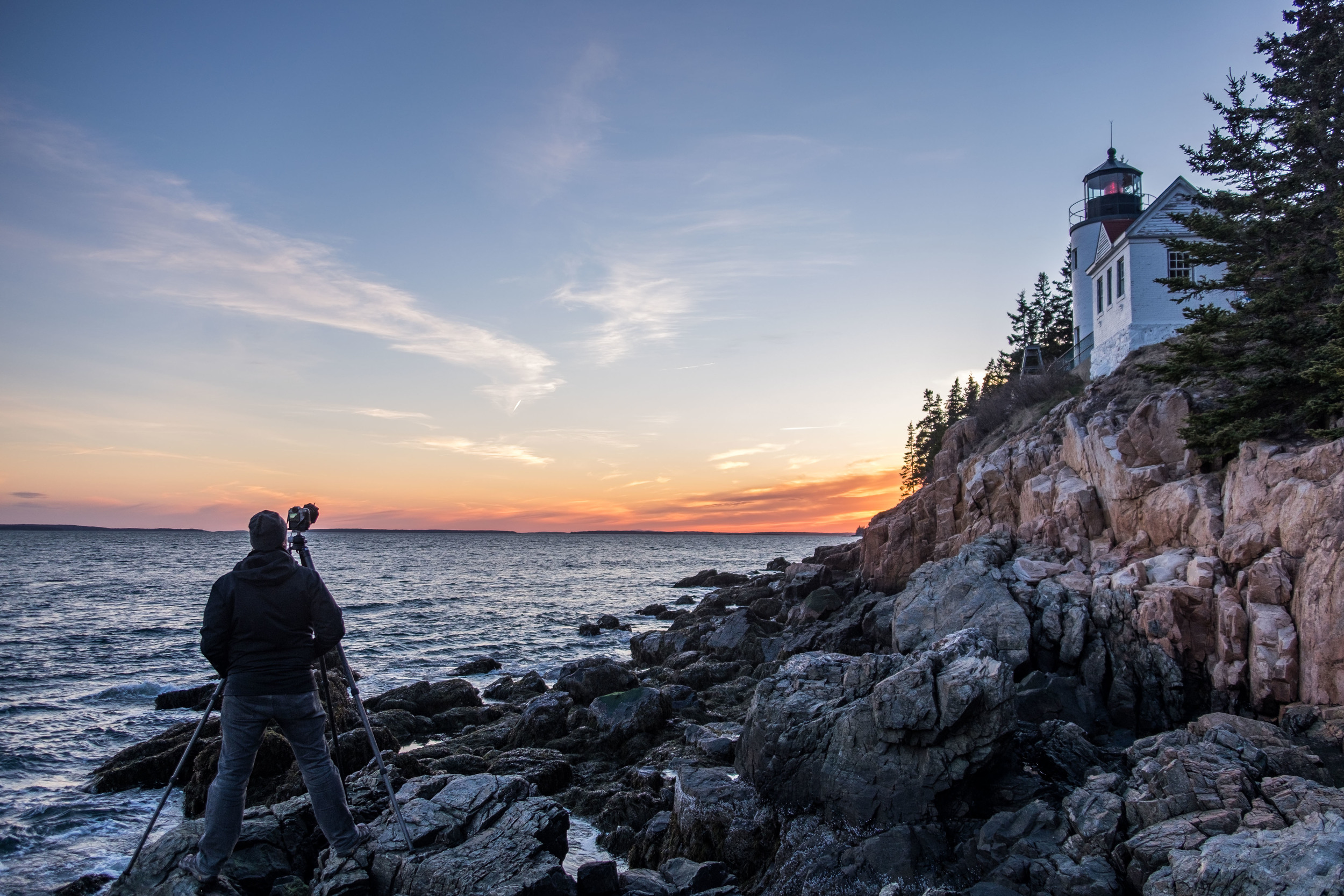 Jonathan shooting the Bass Harbor Lighthouse in Acadia National Park in Maine at sunset.