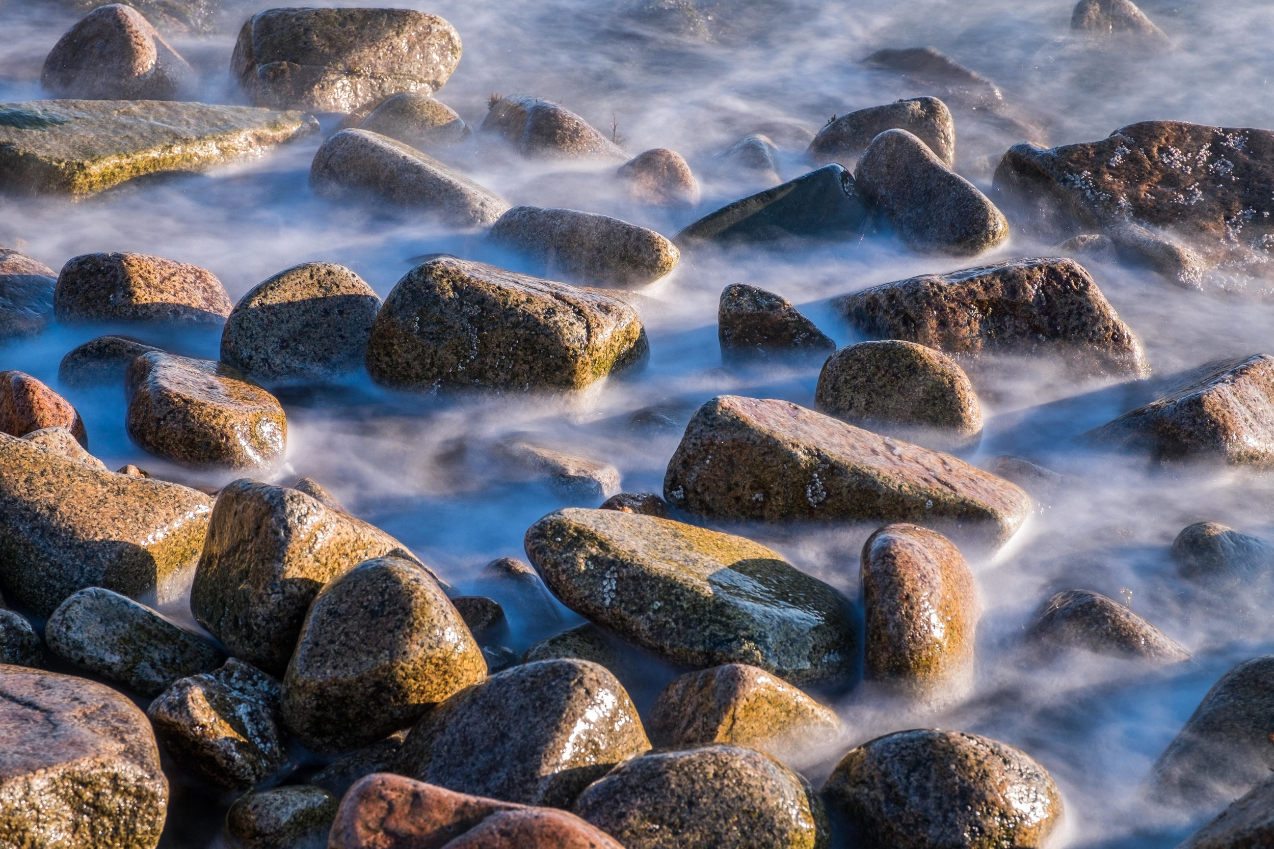 Rocky shores at Acadia National Park in Maine.