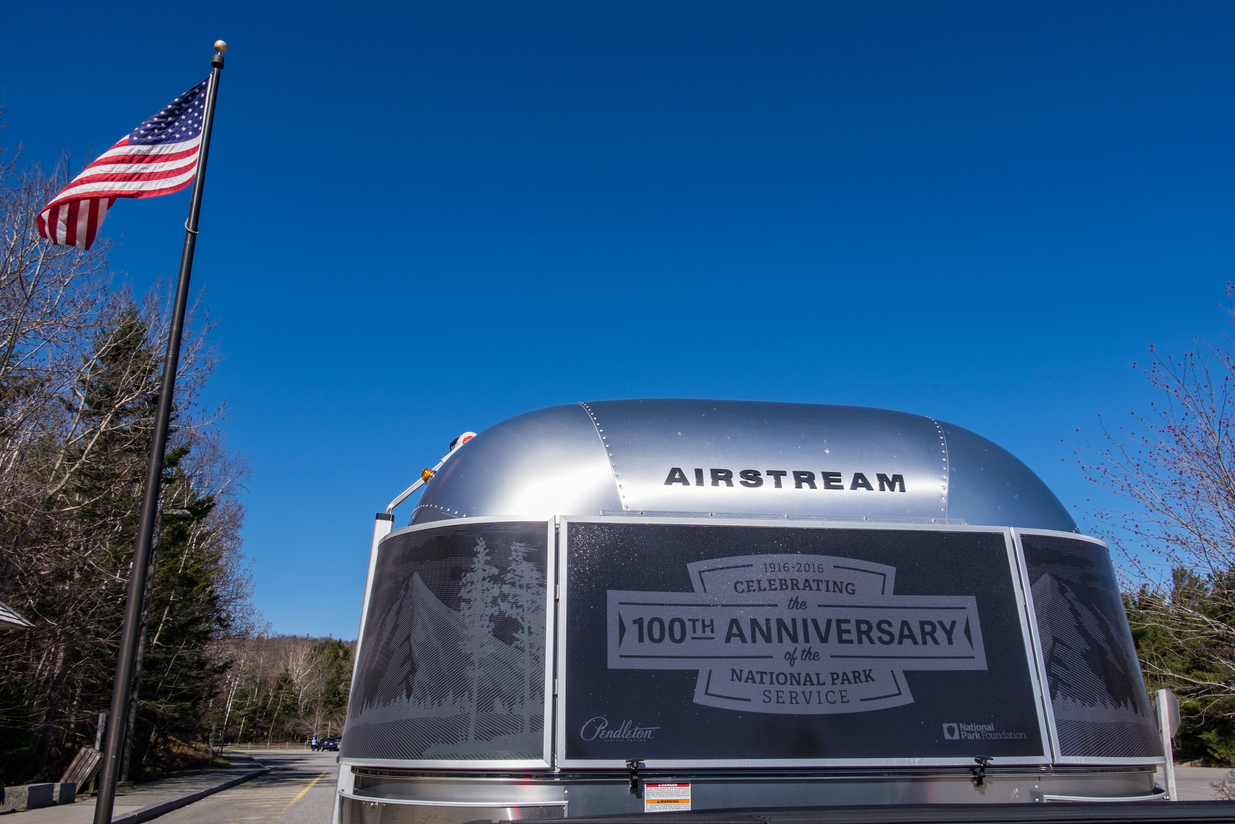 A stop at the Acadia National Park Visitor Center with the Limited Edition National Parks Pendleton Airstream. We think the tree etchings on the Airstream were inspired by Maine -- very fitting!