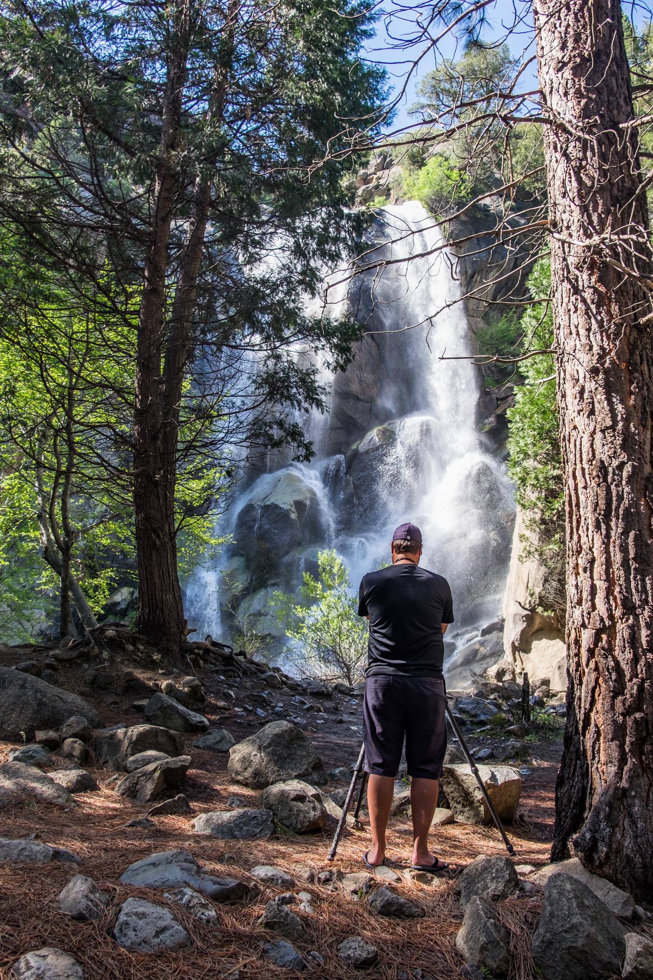 JI shooting the waterfalls along route 180 into the canyon.