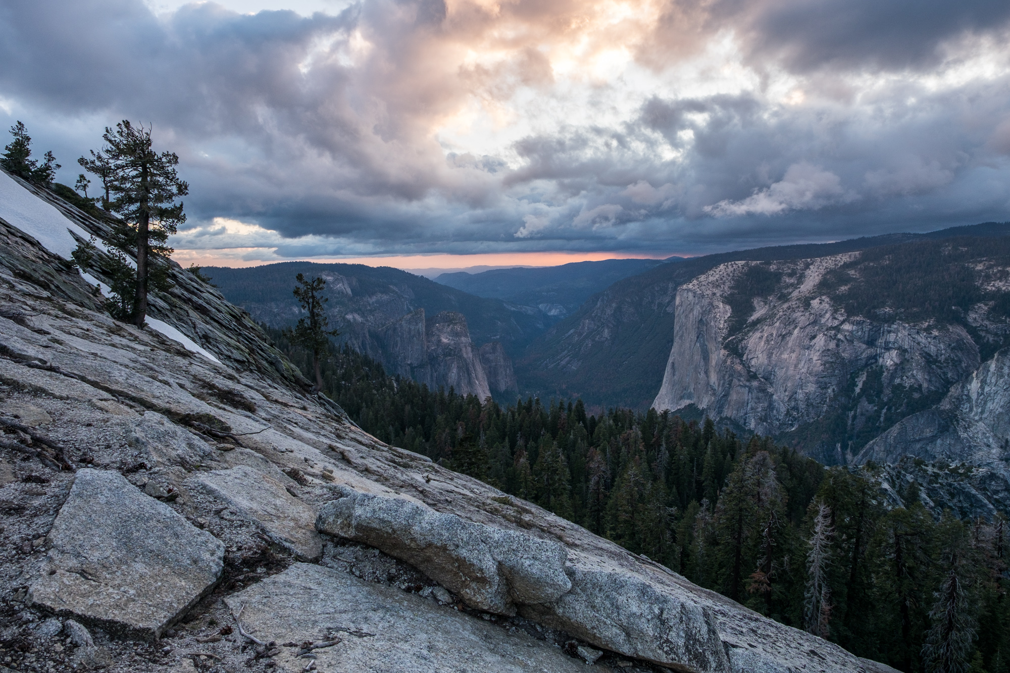 Sunset from the side of Sentinel Dome, looking back down the valley.