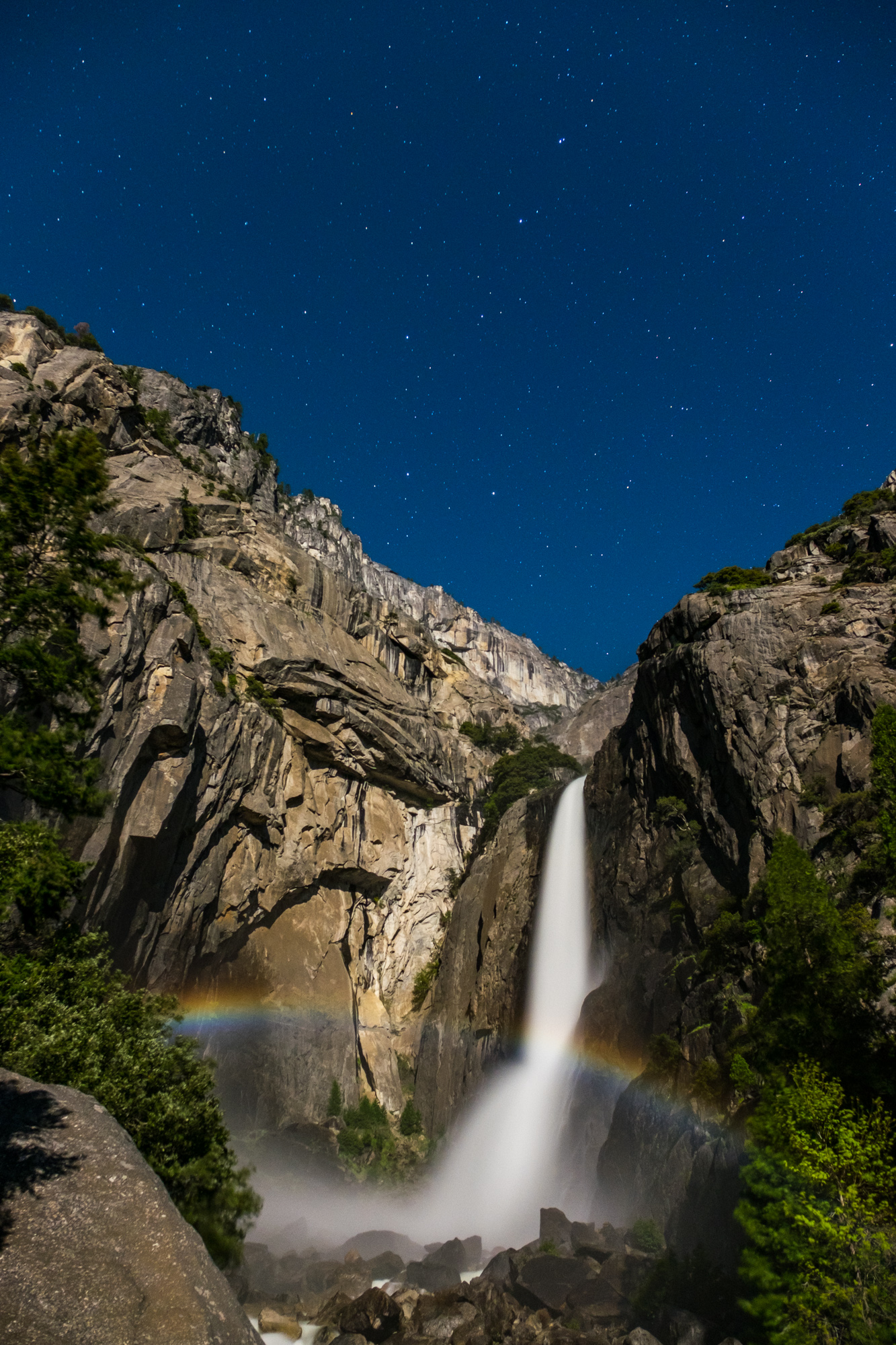 We were lucky enough to capture a rare event...the moonbow. This night rainbow happens twice a year, when the light of the full moon lines up perfectly with the waterfall.