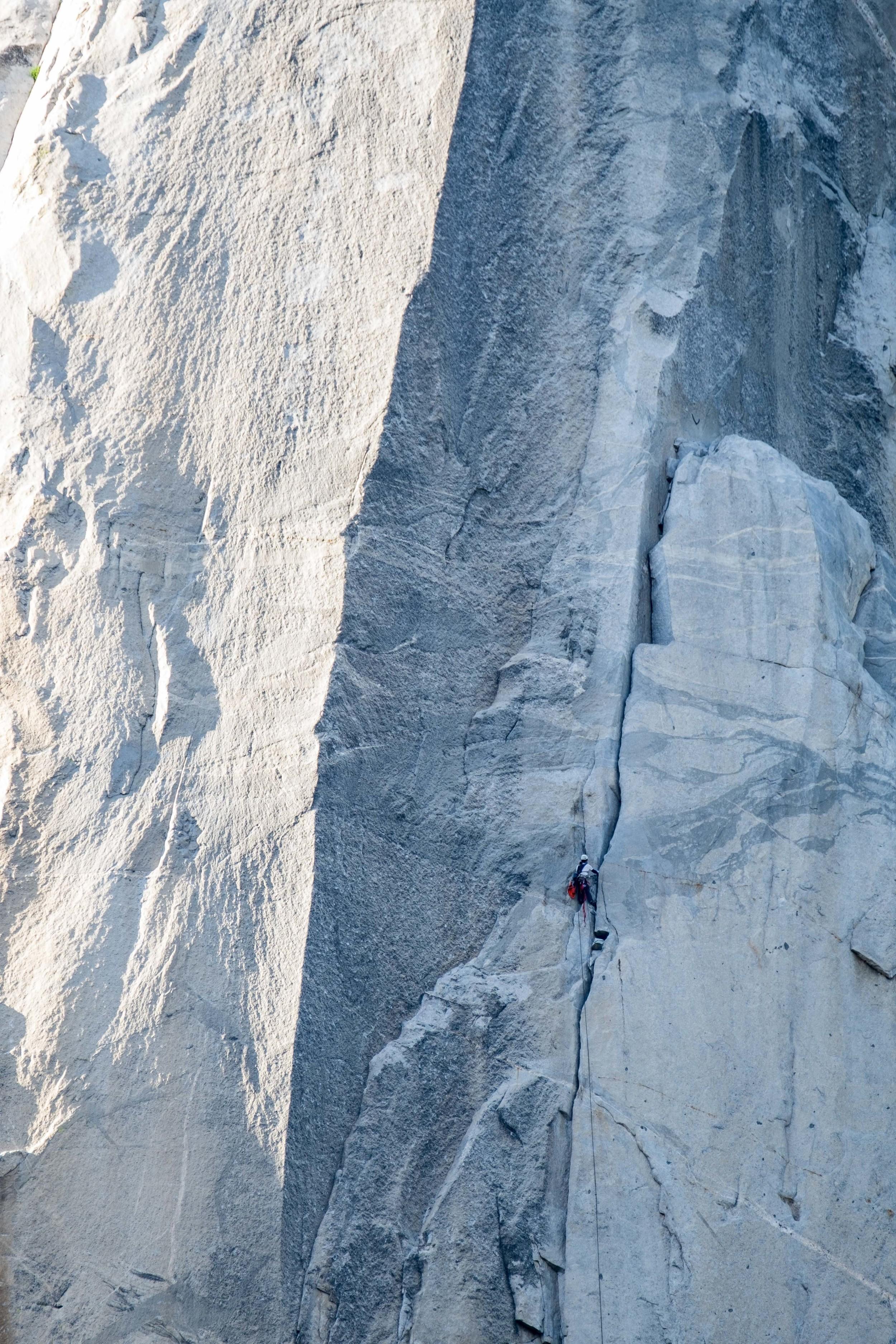 A climber on the Nose of El Cap.