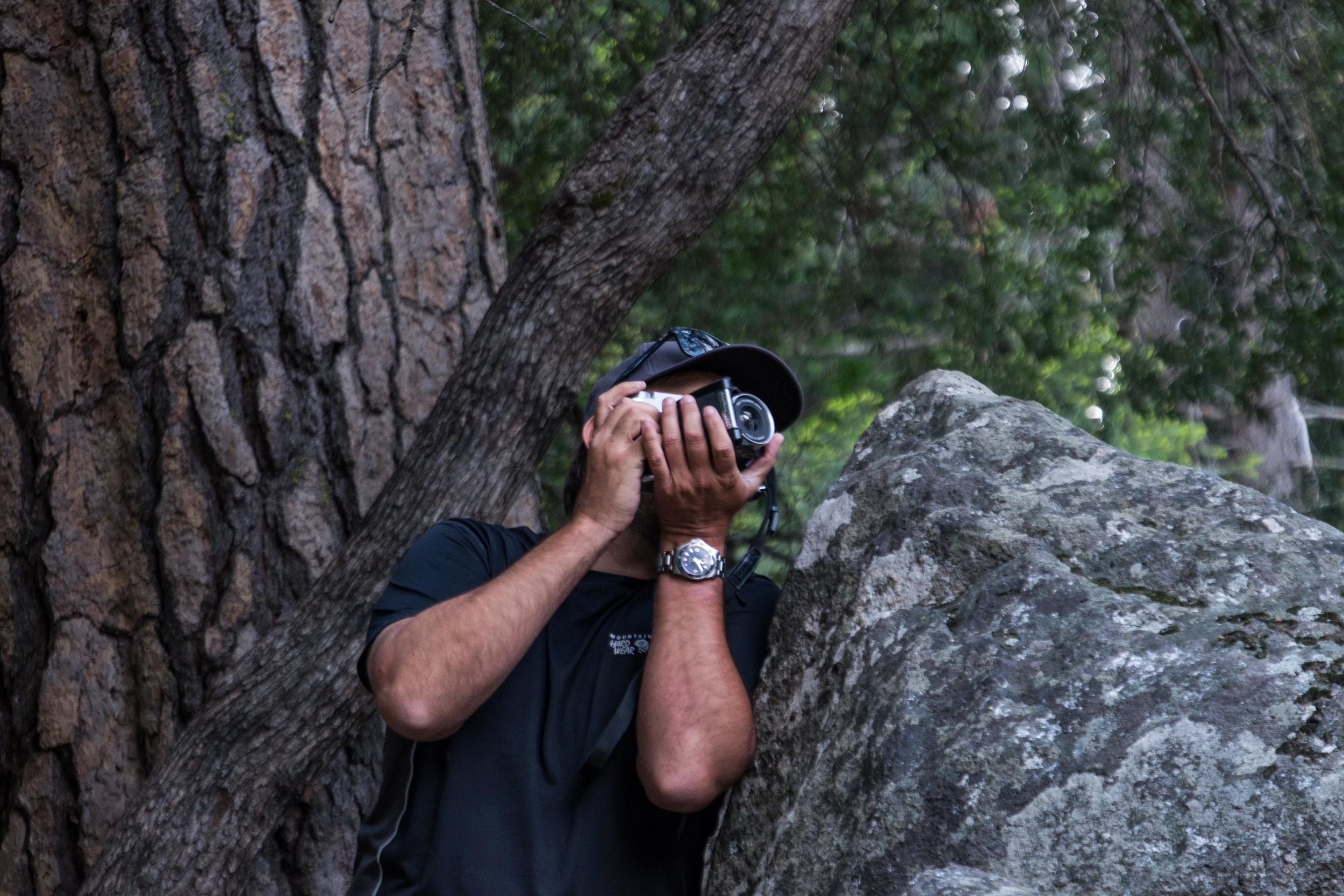 Jonathan Irish shooting with a Fujifilm Black and White Medium Format Film camera at Mirror Lake in Yosemite National Park.
