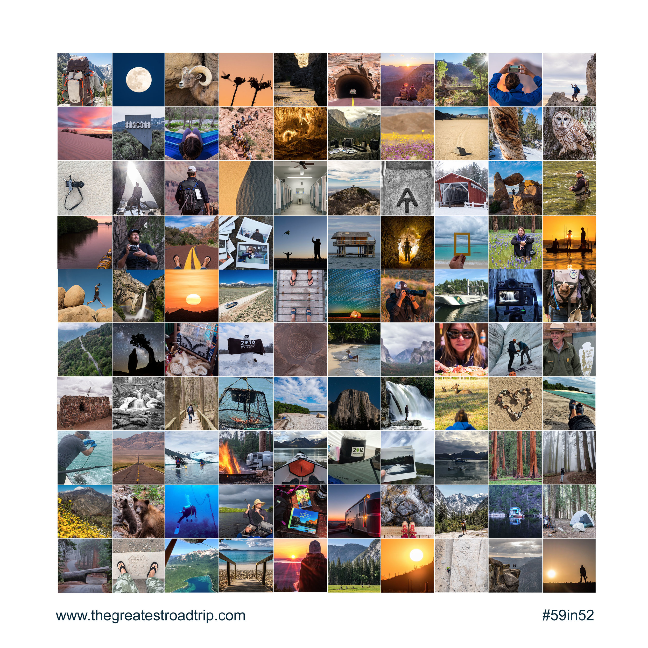 A sample of 100 experiences we've had in 37 national parks this year...ordered below as can be seen line by line, left to right.