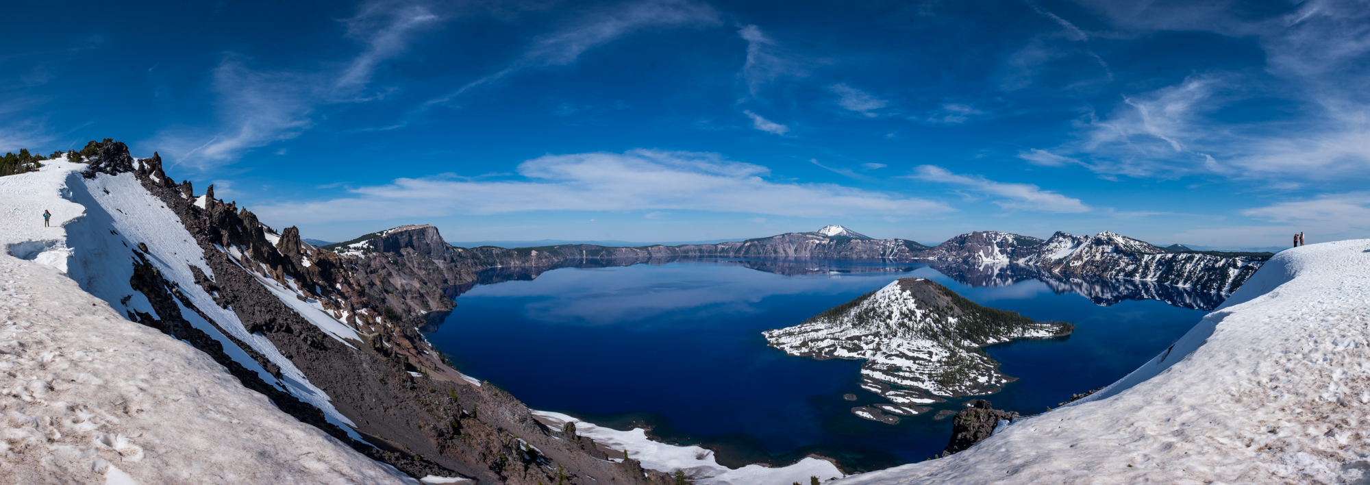 A panorama of Crater Lake, one of our first views of the lake.