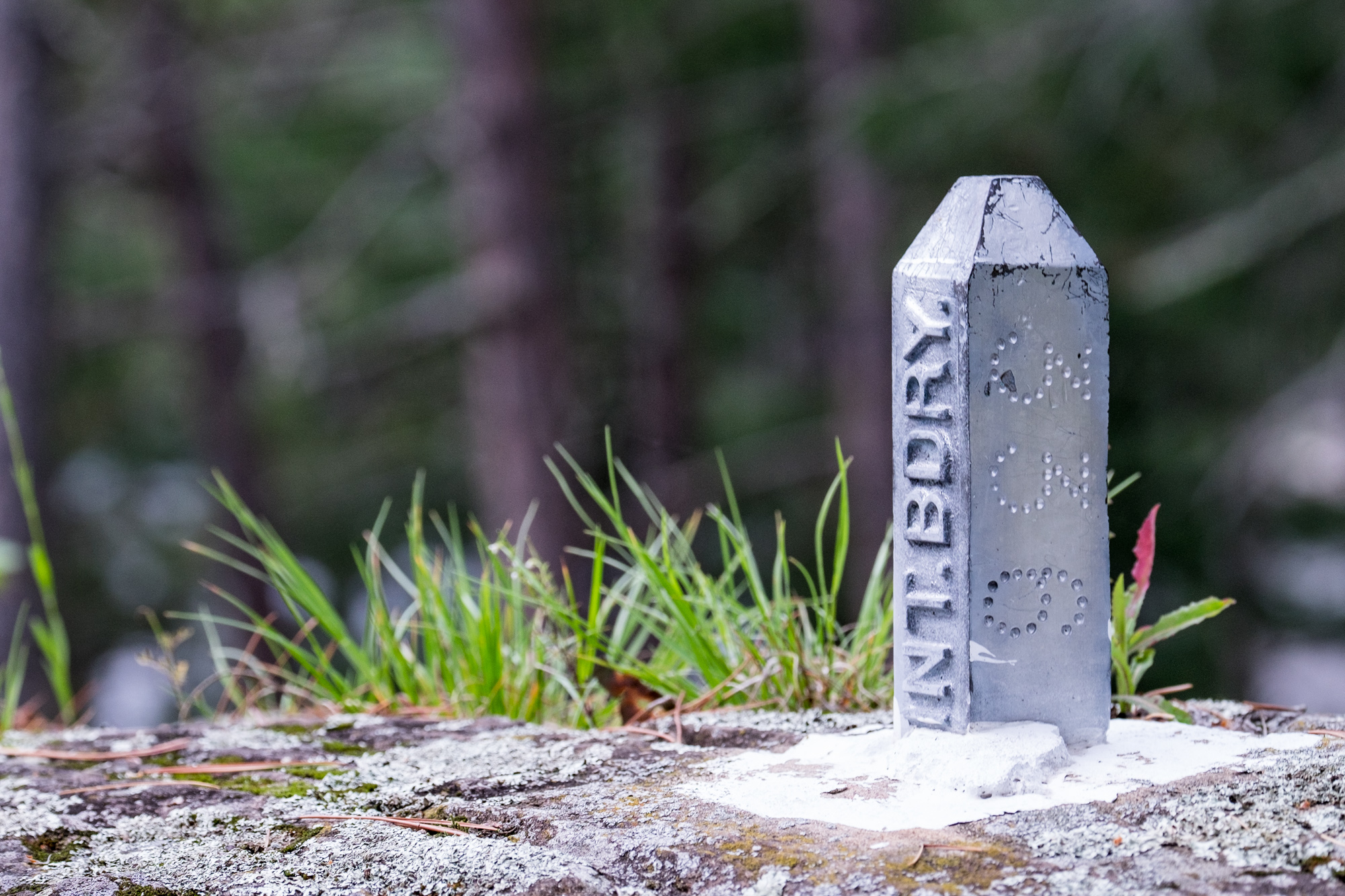 While hiking in the woods we noticed an international boundary marker. It is safe to say we straddled two countries at least a few times on this exploration.