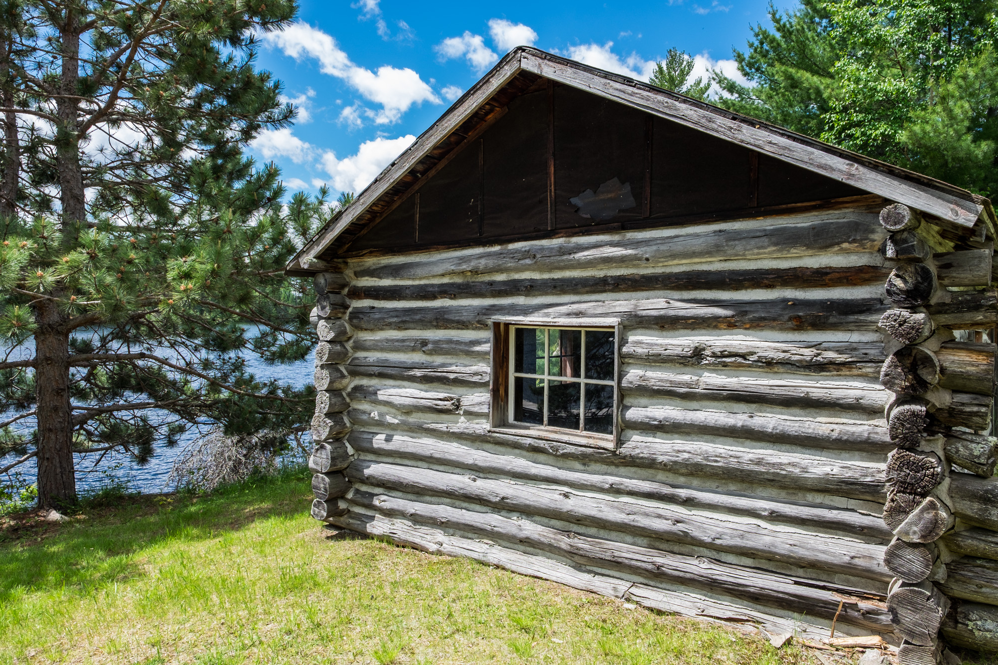 Early fur traders settled the islands and built log homes such as this one.