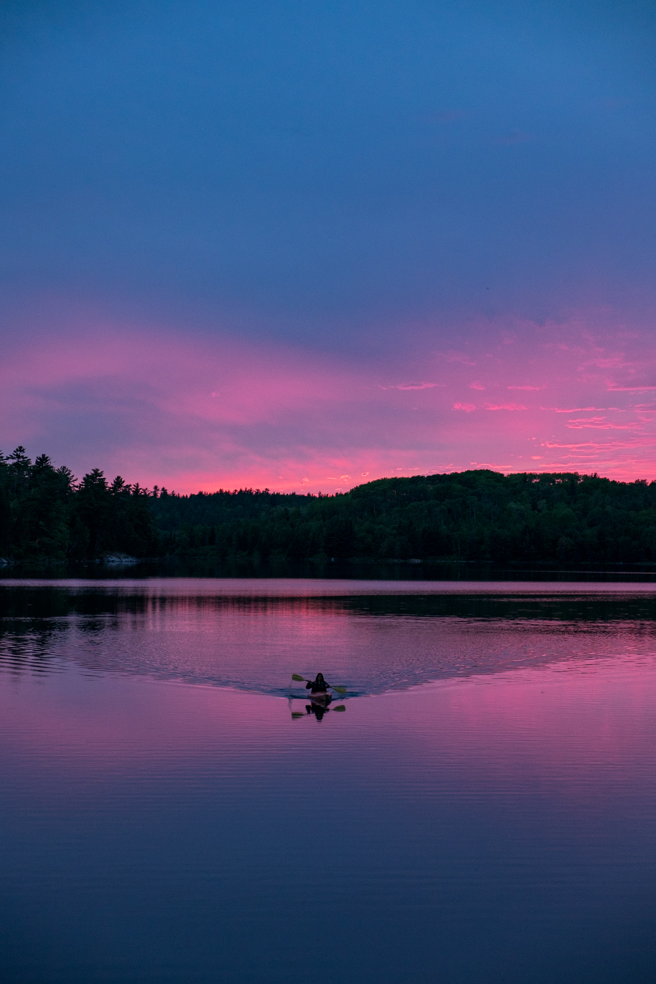 Stef paddling in before it gets too dark. We loved our experience in Voyageurs National Park! Onward..