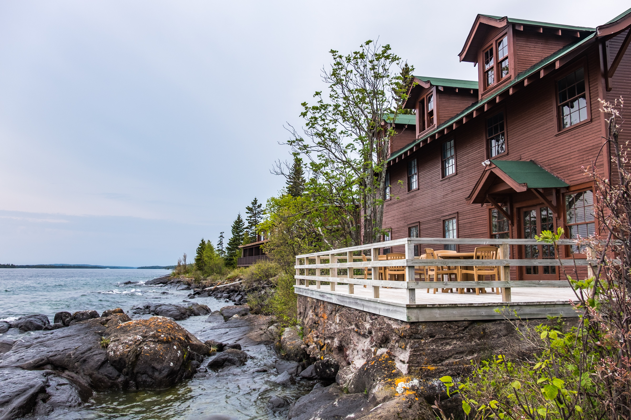 Exterior of a Housekeeping Cabin at the Rock Harbor Lodge in Isle Royale.