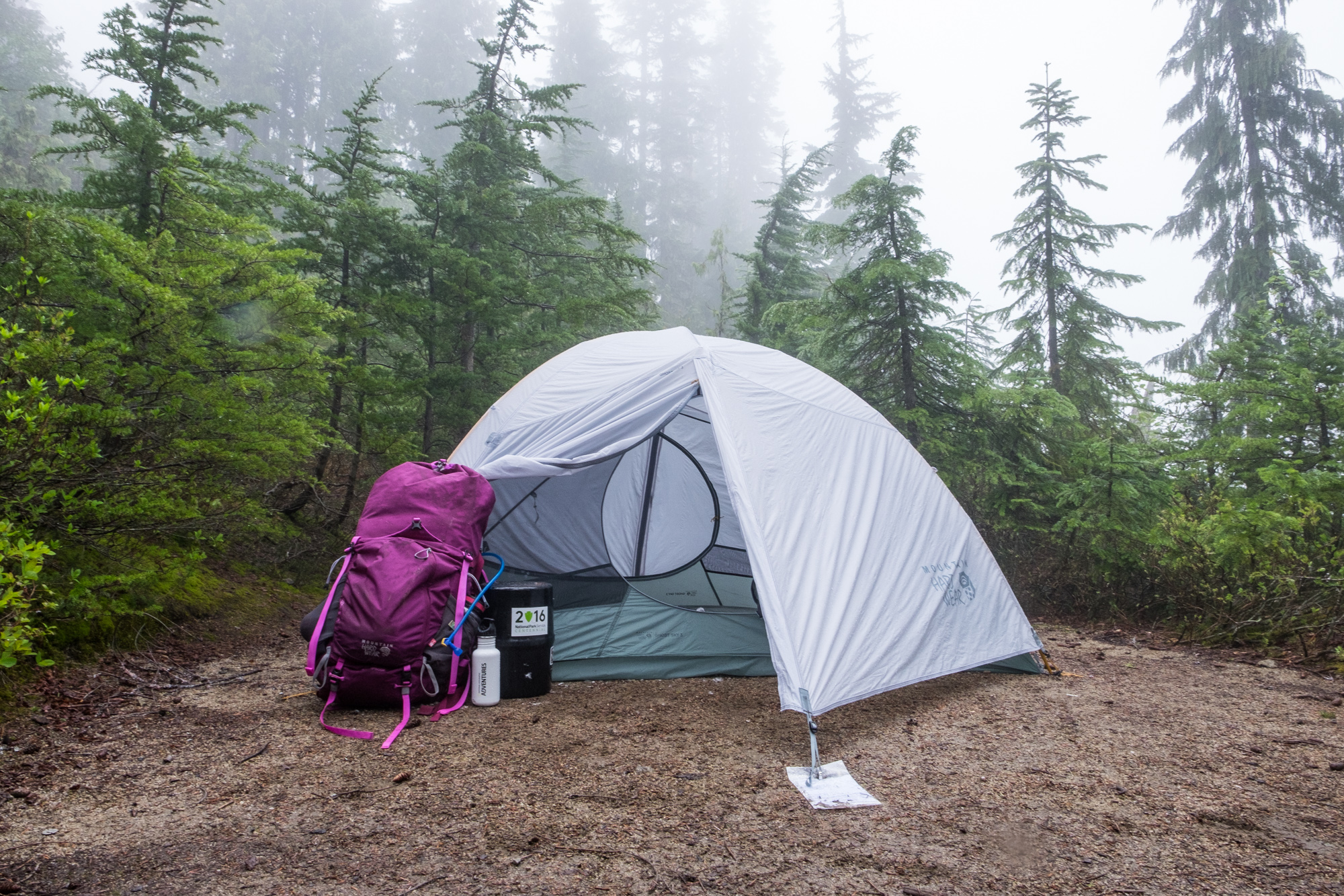 When we made camp the fog rolled in. Good thing we were tired and ready for some food and sleep.