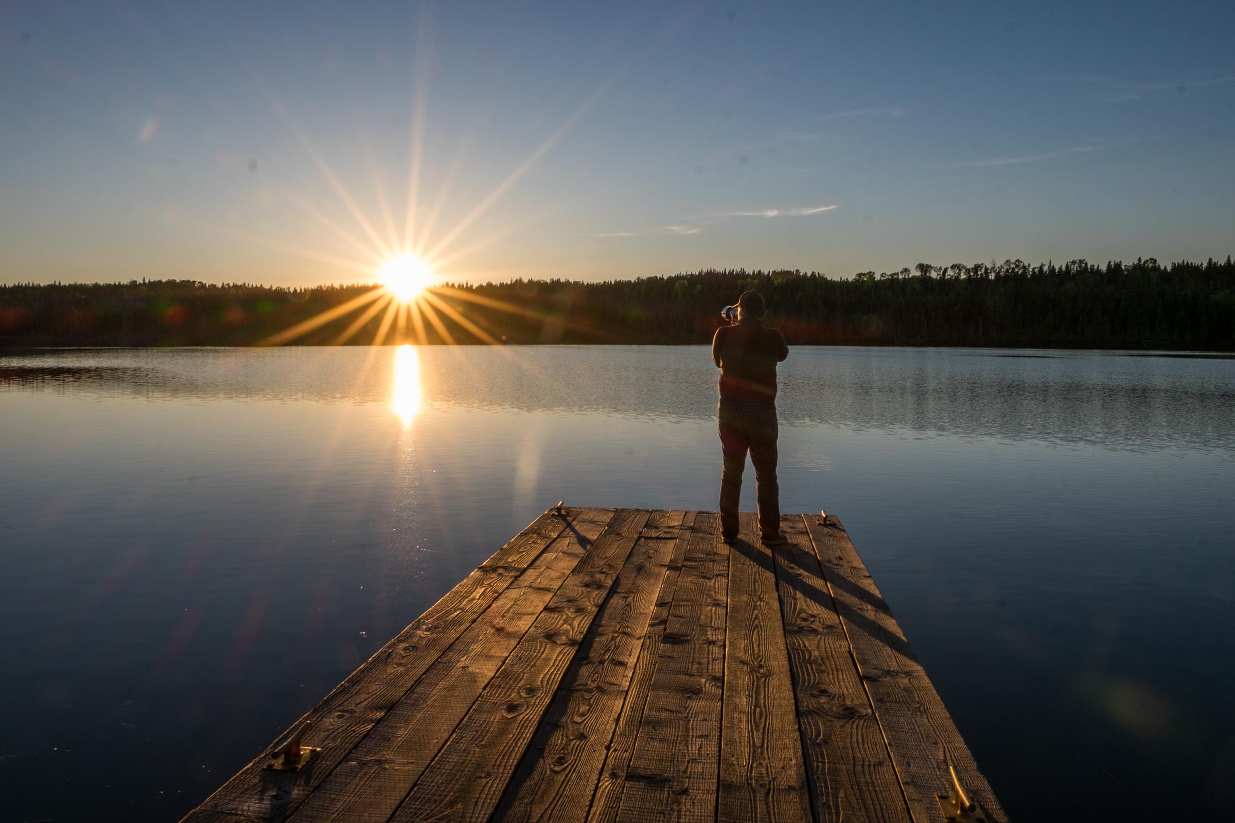 Sun burst in Isle Royale in Michigan.