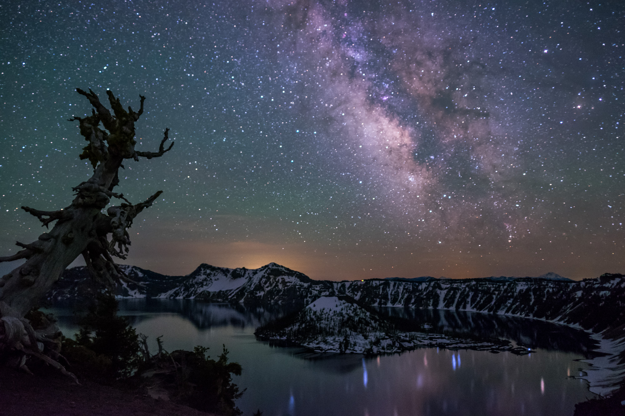 The Milky Way reflected in Oregon's Crater Lake.