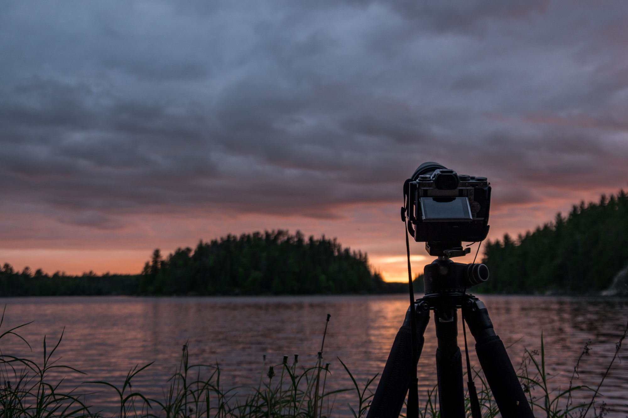 A beautiful sunset in Voyageurs National Park in Minnesota.