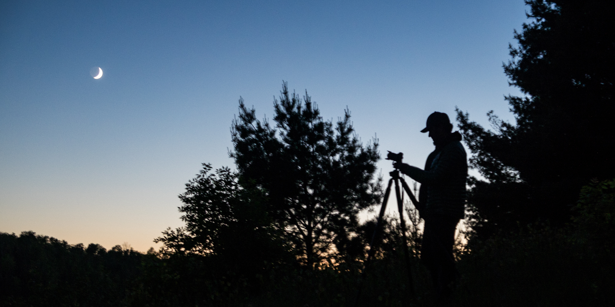 Jonathan photographing the night sky in Voyageurs National Park in Minnesota.