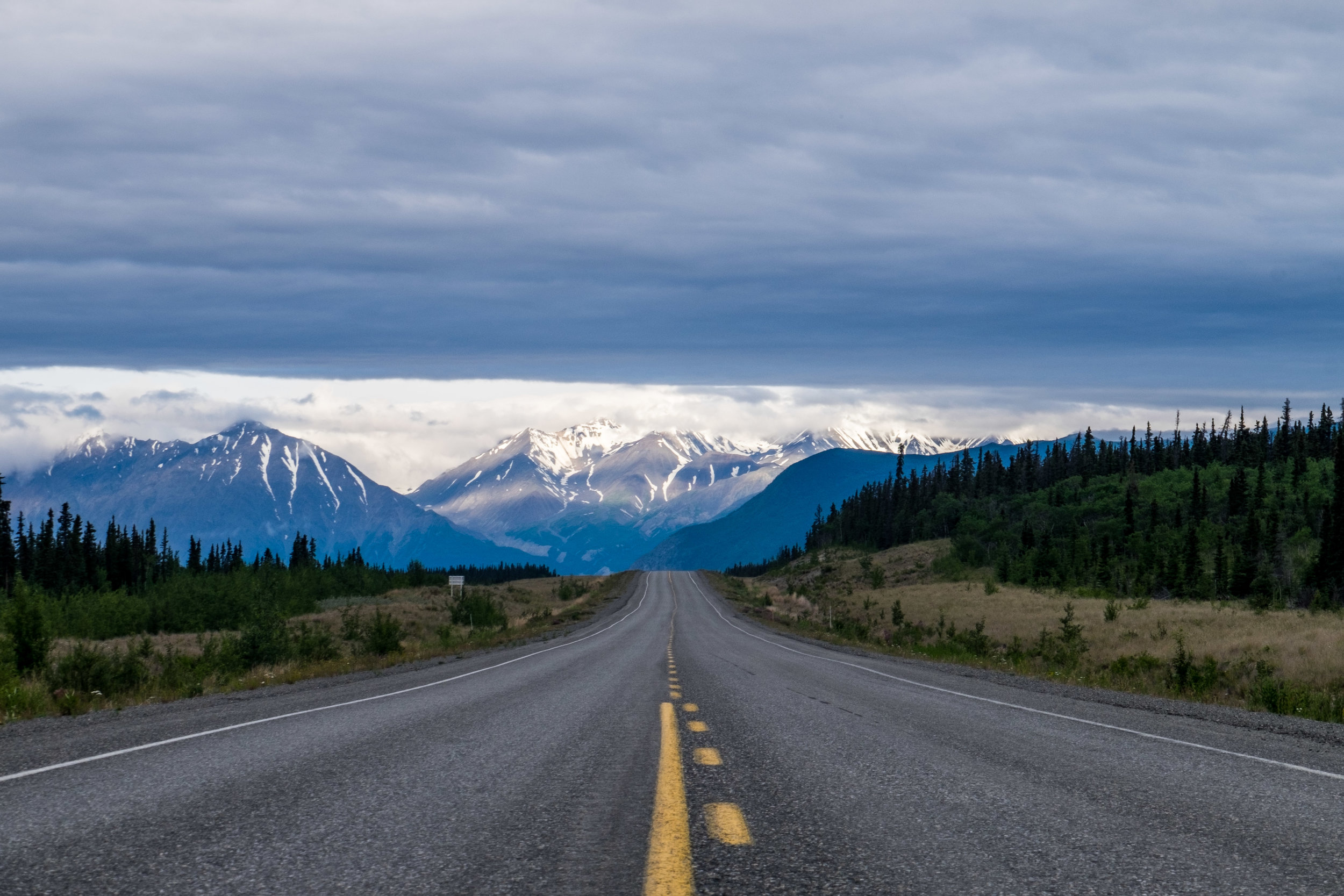 "The road to Alaska as seen on the Alaska Highway, once known as ""The Alcan"" (a mesh of Alaska-Canada.) This main vein travels from Dawson Creek in British Columbia and ends in Fairbanks, Alaska. And then, there's the everything that's in between..."