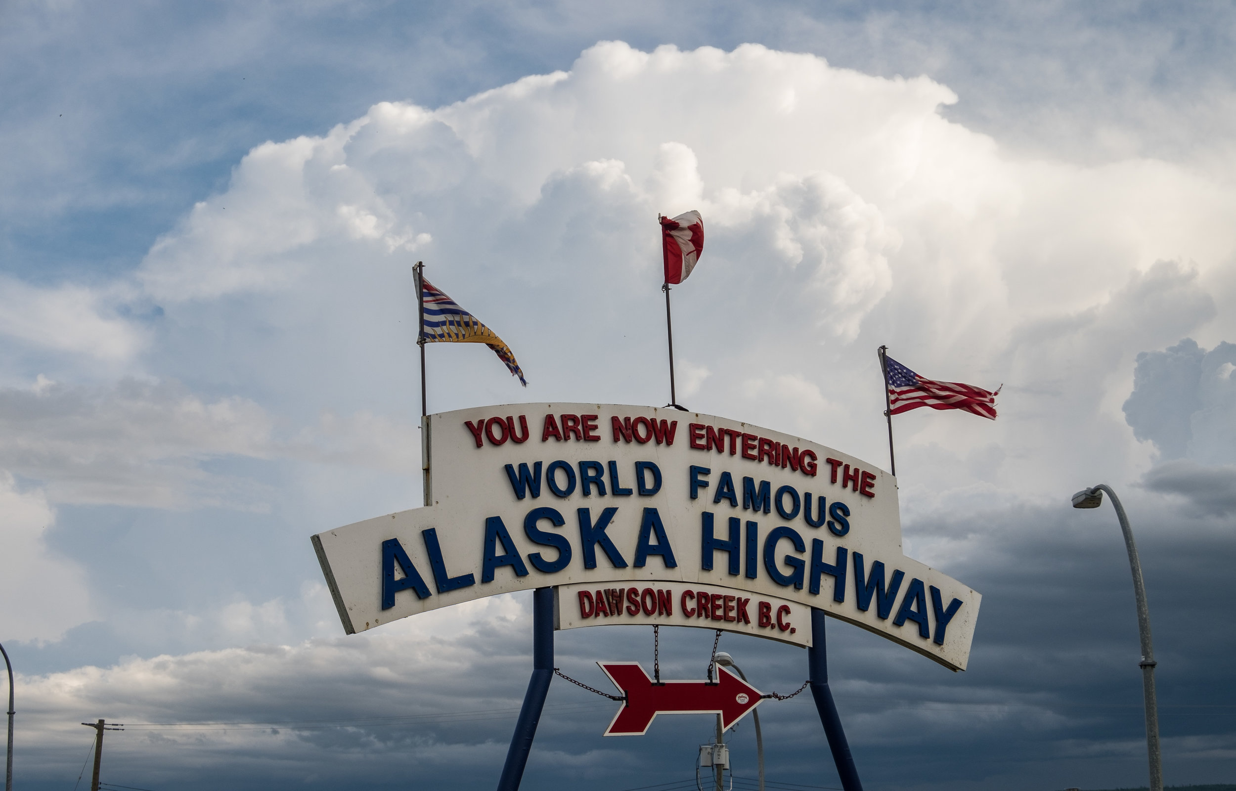 The symbolic road sign at the start of the Alaska Highway in Dawson Creek, British Columbia.