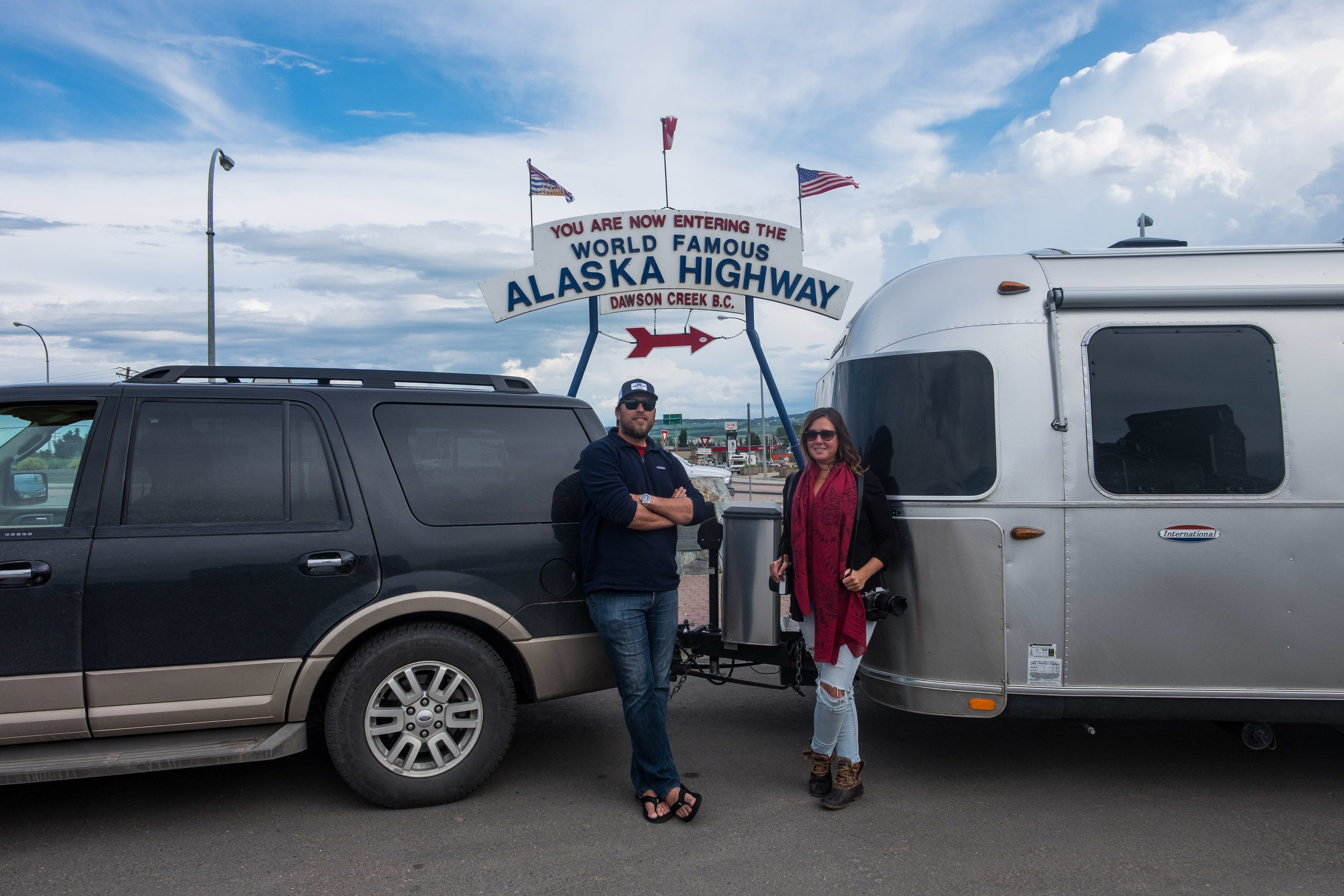 Selfie at the start of the Alaska Highway.