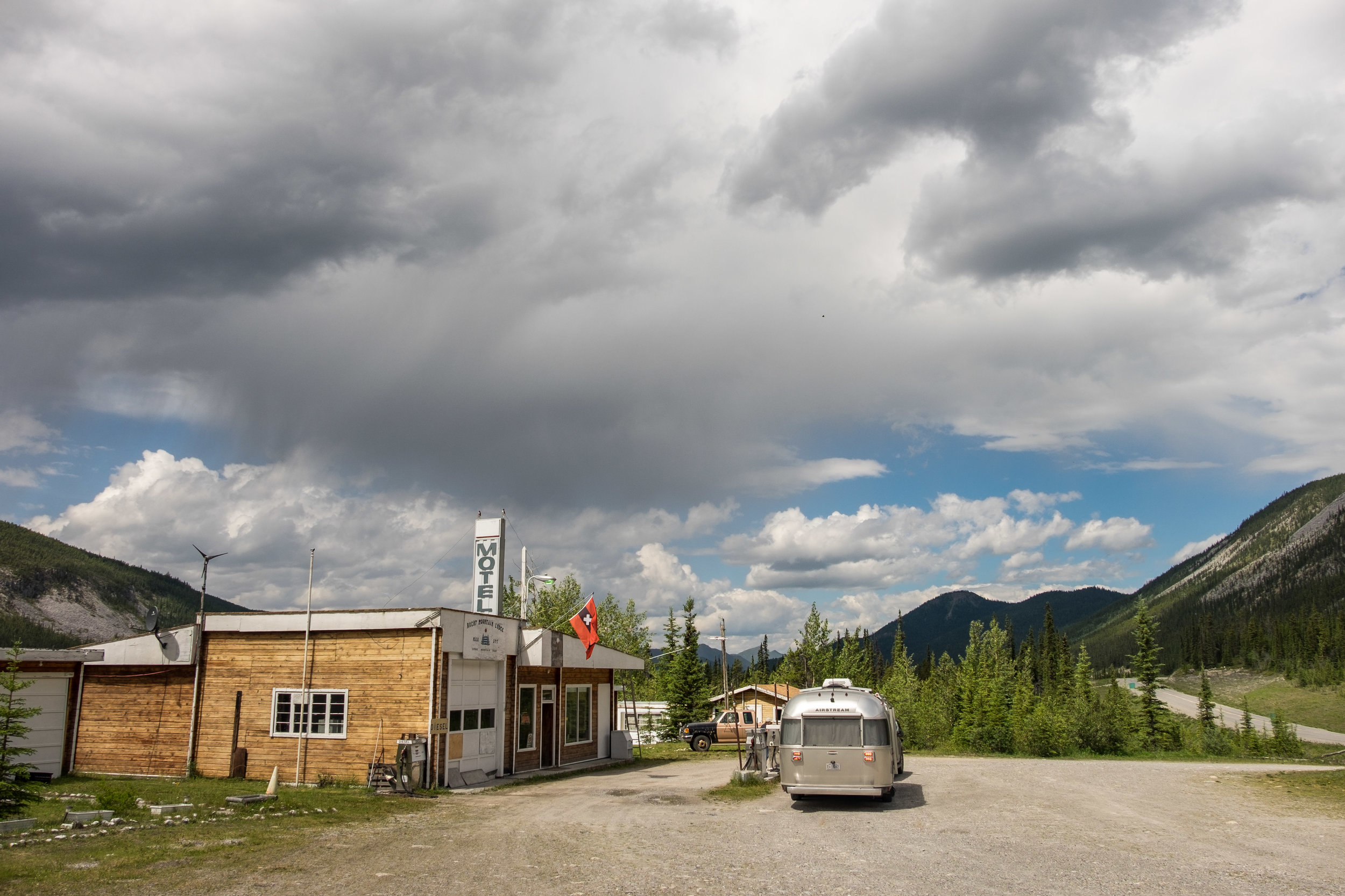 Fuel up whenever you can on the Alaska Highway, services are few and far between.