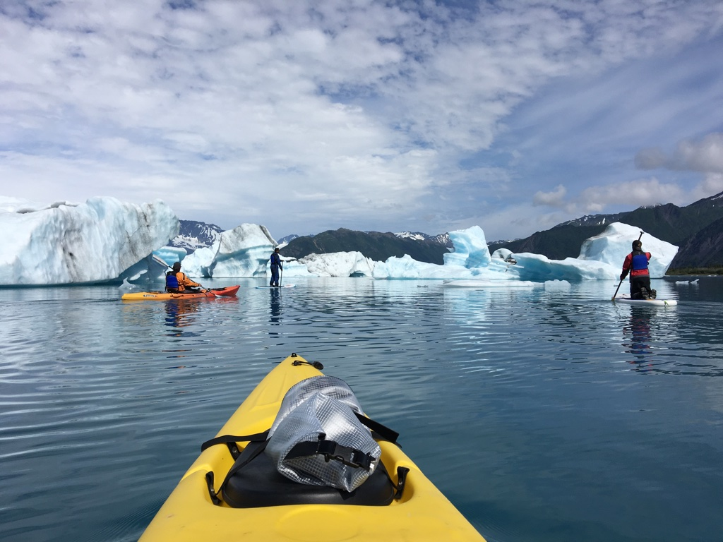 Paddling through glaciers in the Kenai Fjords in Alaska.