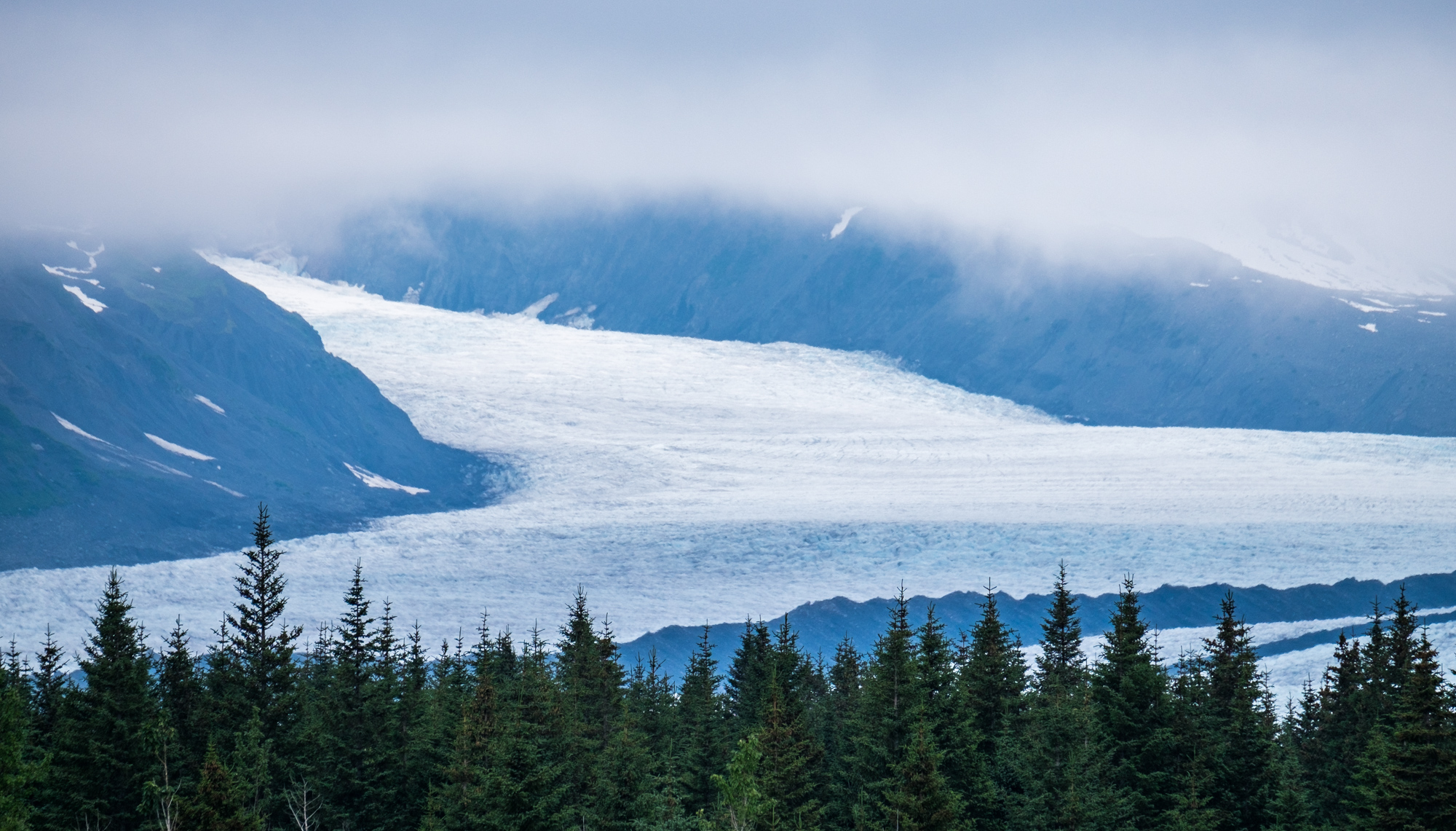 Bear Glacier, an offshoot of the Harding Icefield. It is the largest glacier in the park.