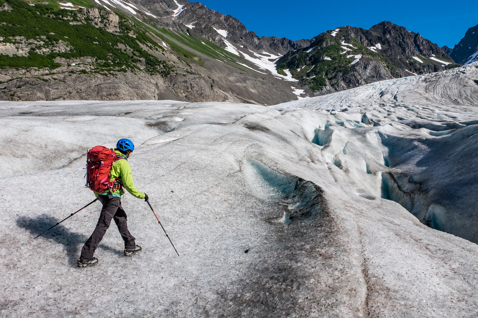 "Gaby, our ""Want to know about glaciers and mountaineering? I've got you!"" guide in Godwin Glacier."