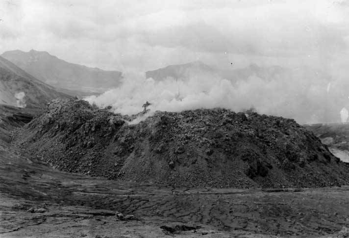 Steam rises from the Novarupta lava dome in 1918. Novarupta remains one of the many worthwhile destinations in the Valley of Ten Thousand Smokes.   Credit: National Geographic Society Katmai expeditions photographs, Archives and Special Collections, Consortium Library, University of Alaska Anchorage.