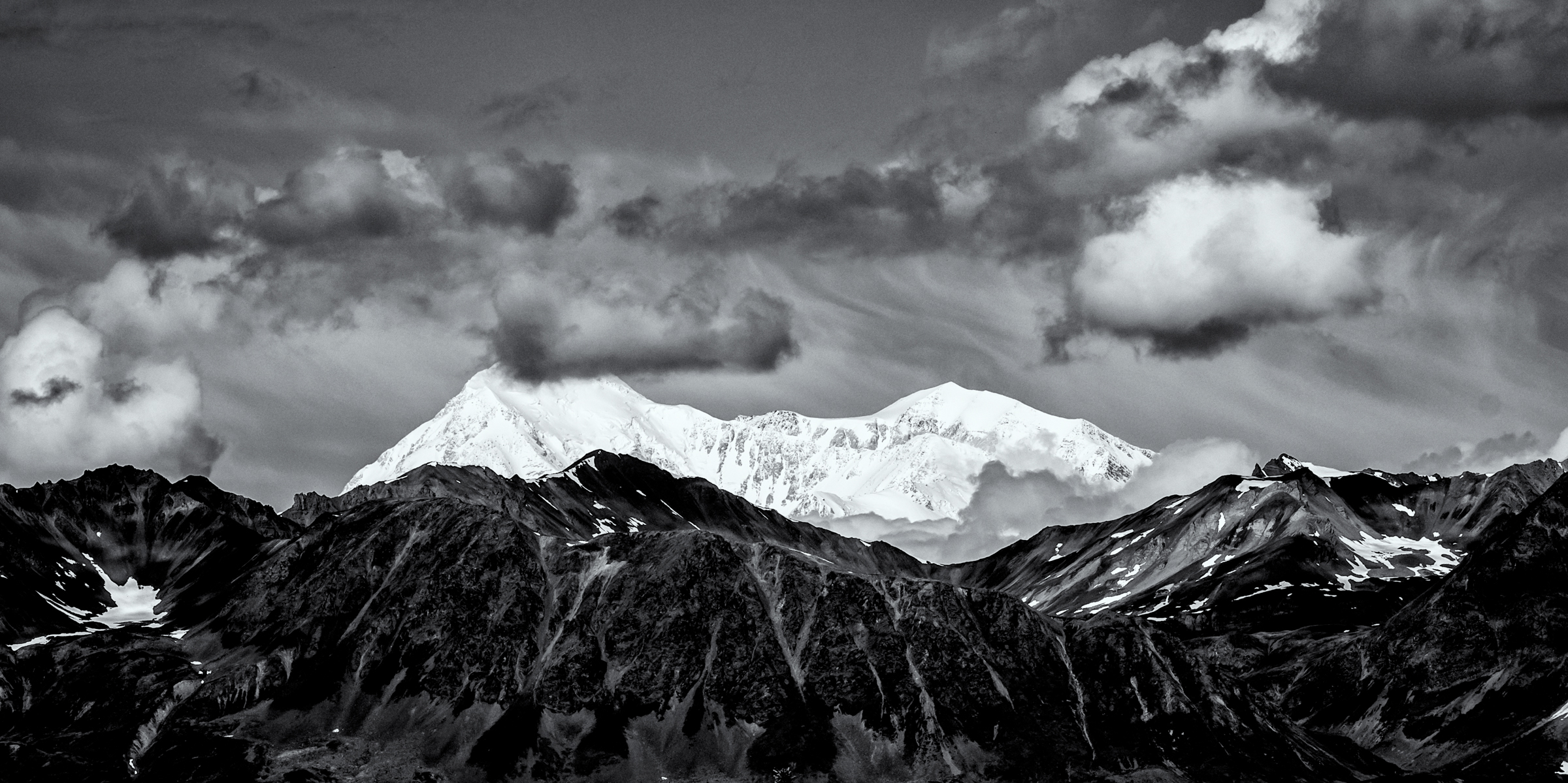 "Denali, ""The Great One,"" in black and white."
