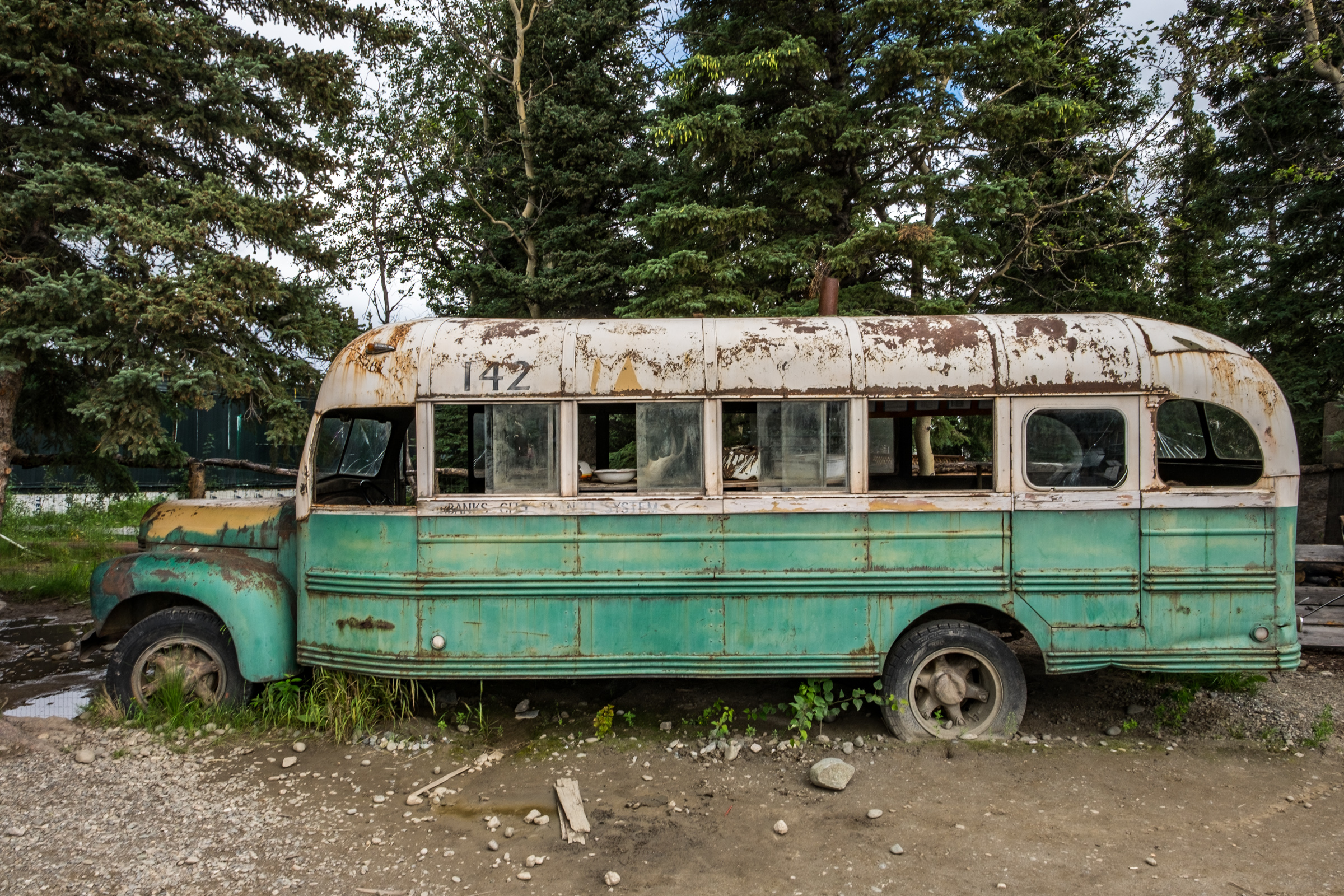 "The ""Magic Bus"" used in the film Into The Wild. It is now located in the yard of the 49th State Brewing Company in the small town of Healy, Alaska, just 10 miles from the entrance of Denali National Park."
