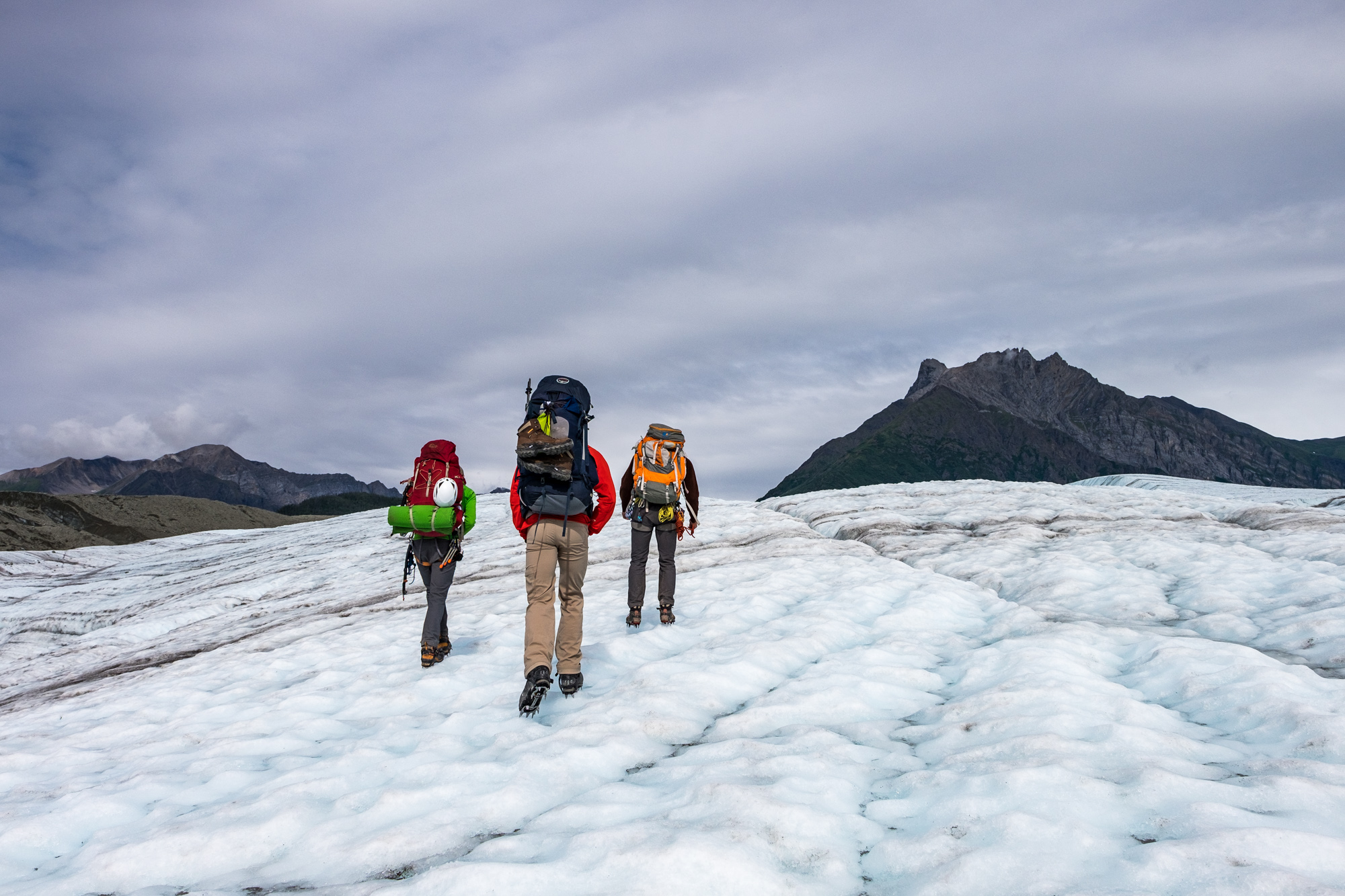 We were soon walking on the glacier with crampons strapped onto our shoes.