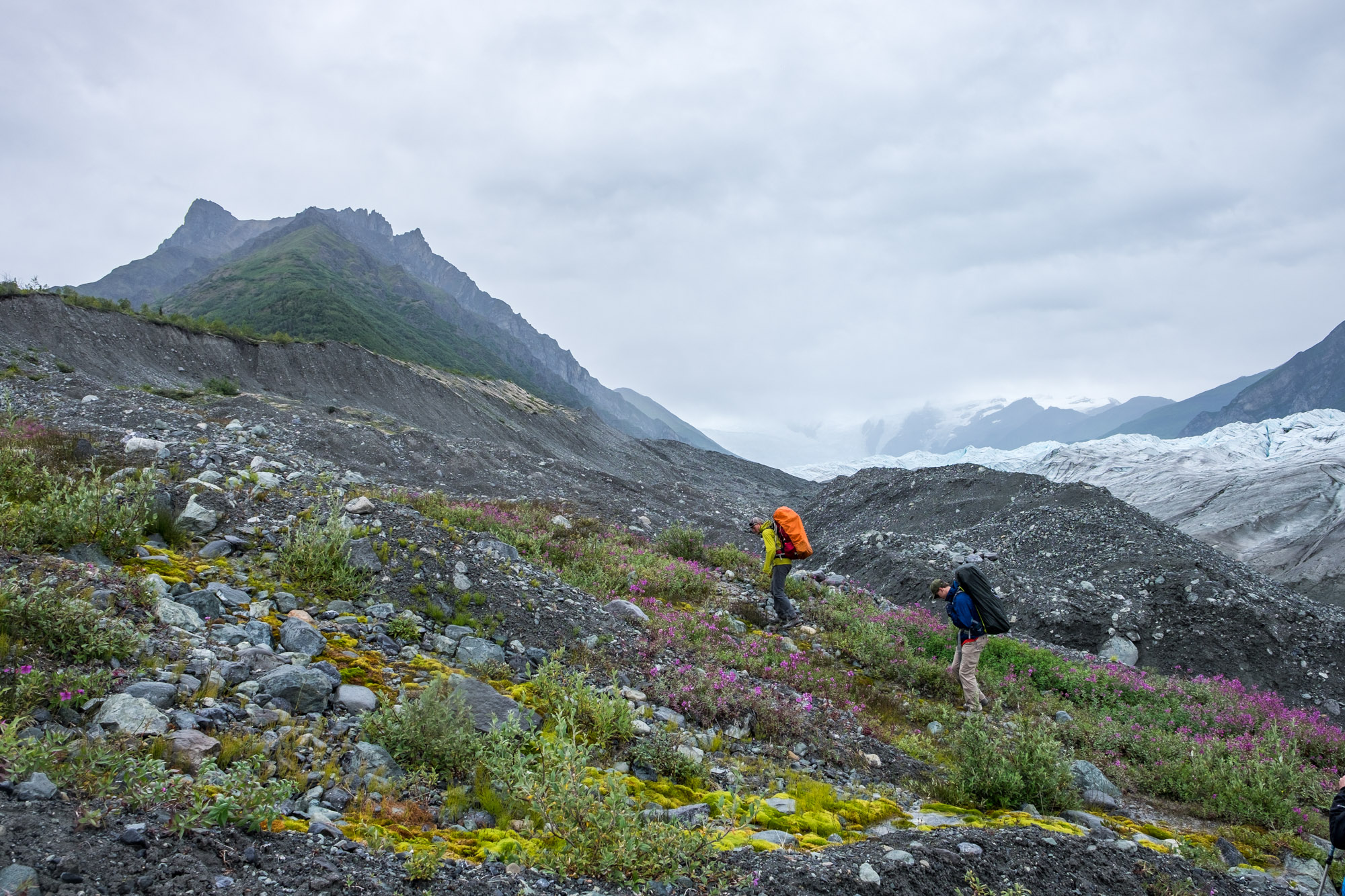 After exiting the glacier, we started walking on moraine, which was not easy to hike on!