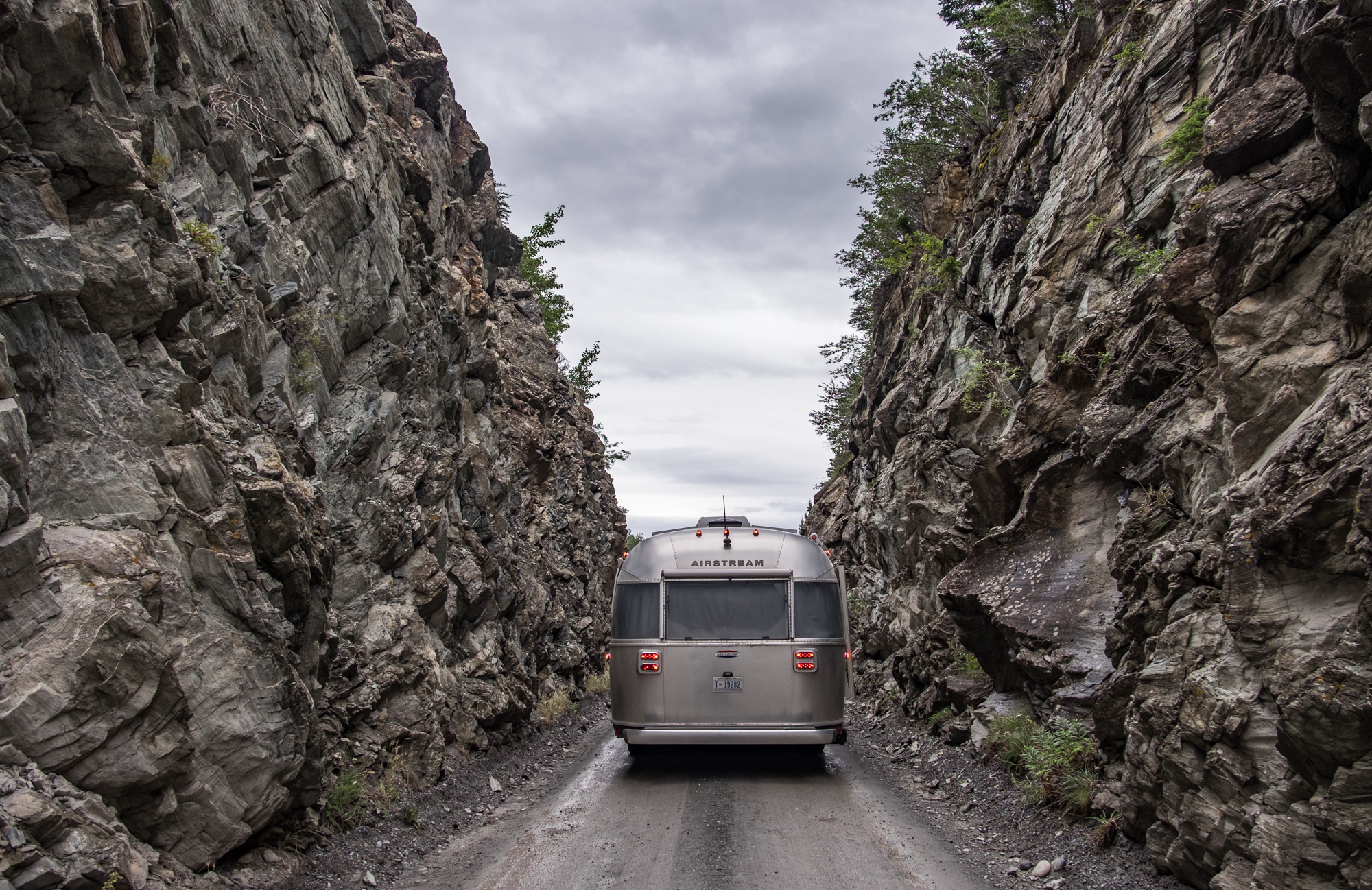 Starting the long, brain-shaking drive down McCarthy Road into the heart of Wrangell St. Elias National Park with Wally the Airstream in tow.