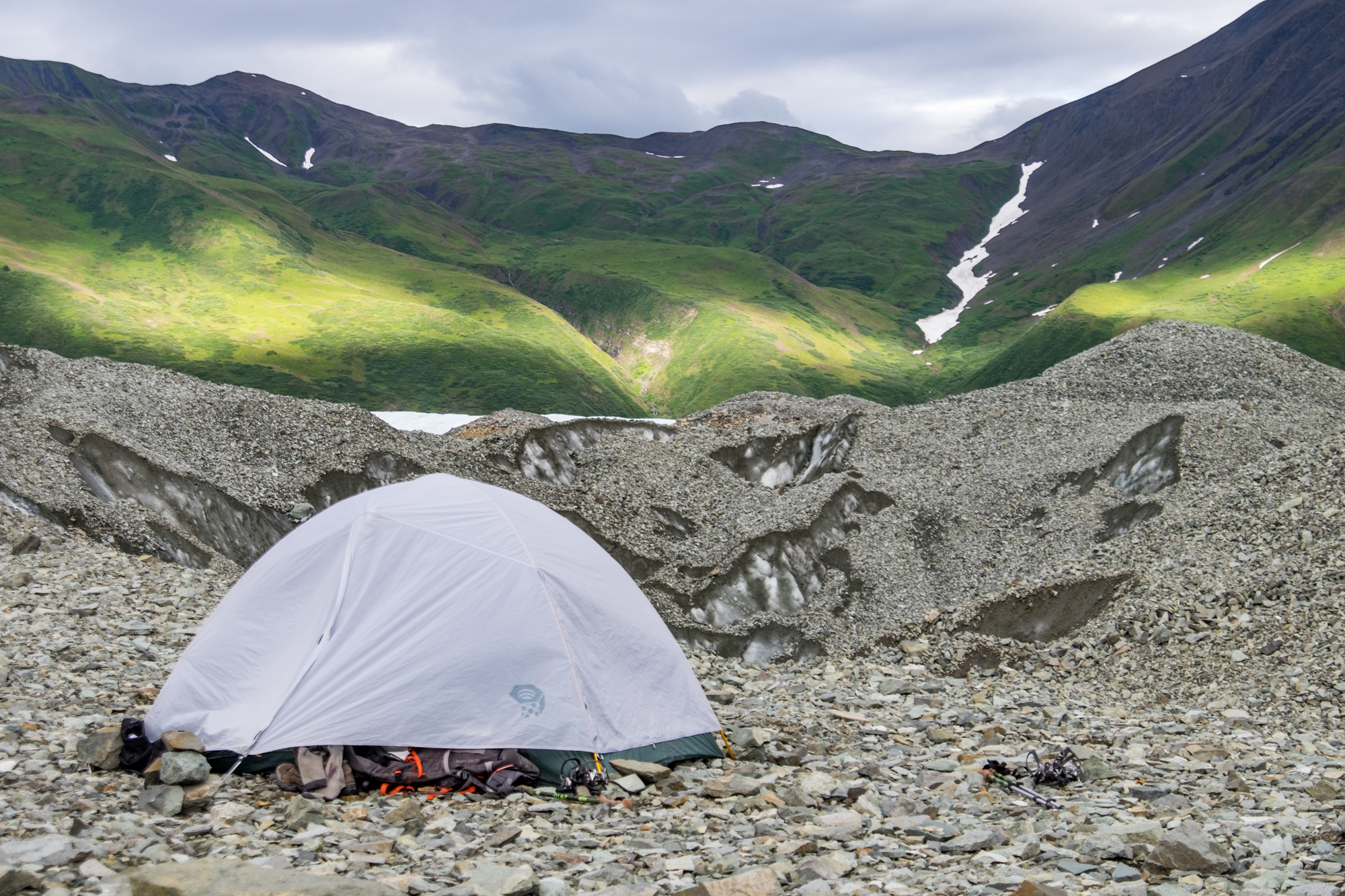 Set up on top of a glacier high in the backcountry, our Mountain Hardwear Ghost Sky 3 tent lives up to its name.