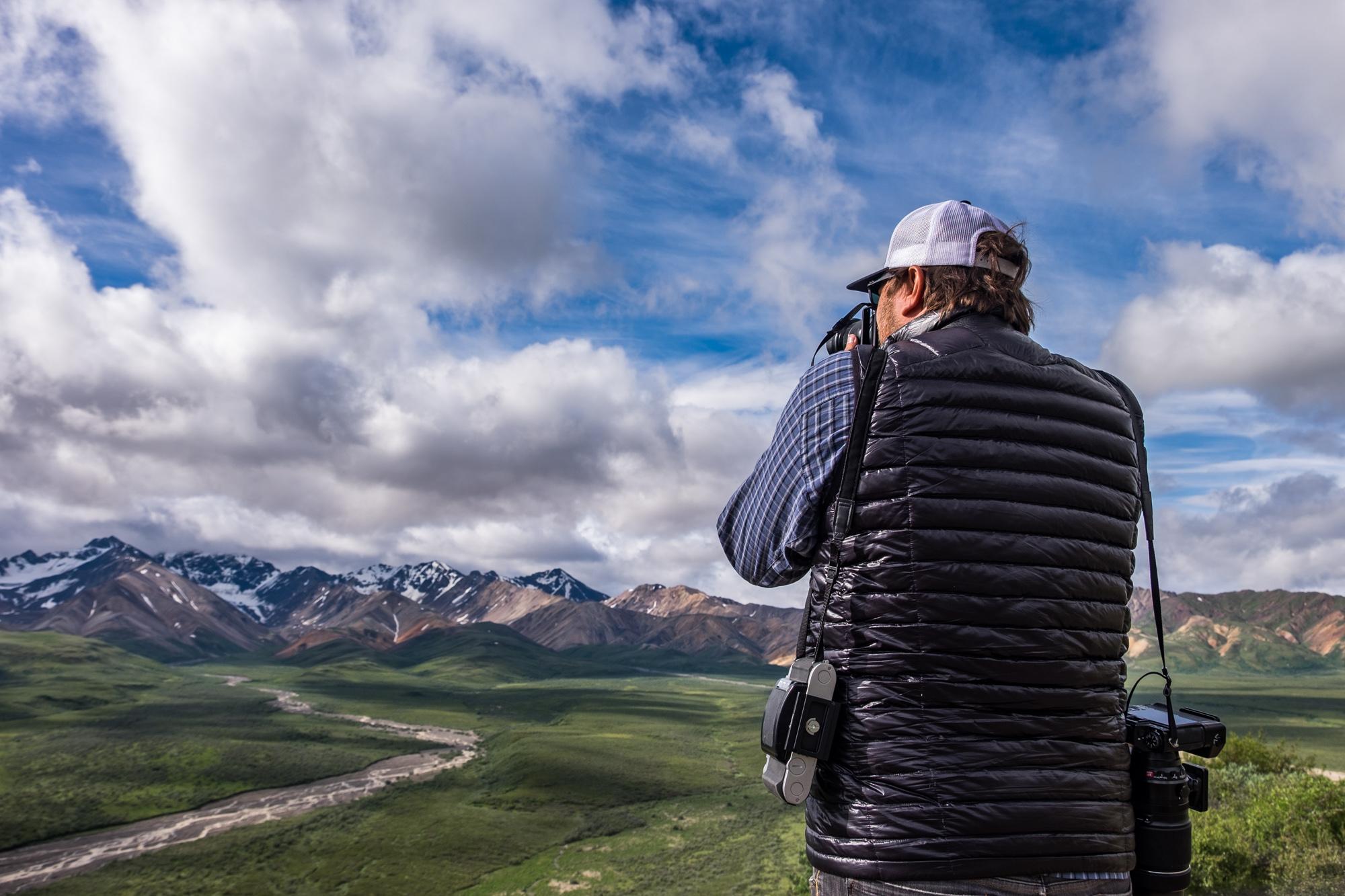 Jonathan Irish photographing the wild Alaska landscape at Denali National Park with the Fujifilm X-T1.