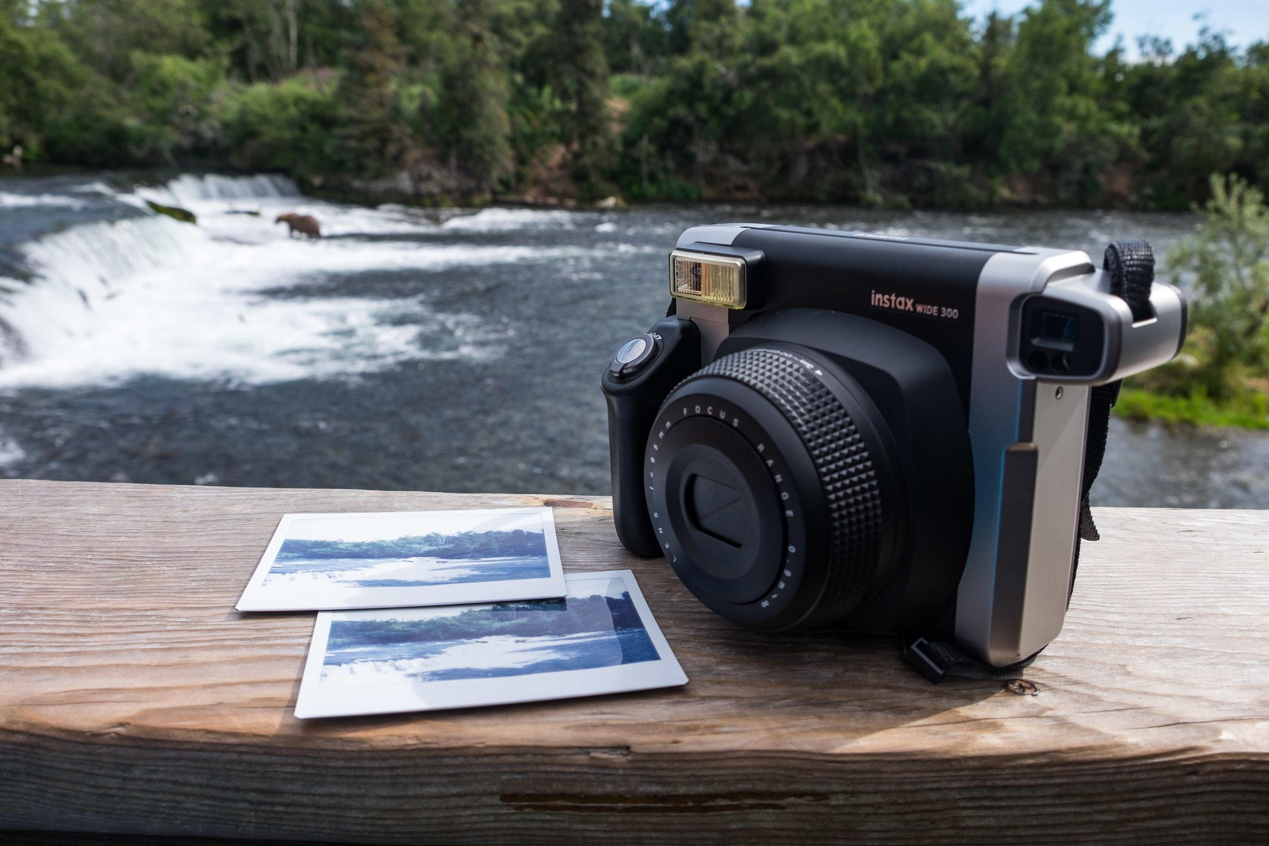 Fujifilm Instax at the legendary Brooks Falls viewing platform in Katmai National Park in Alaska.