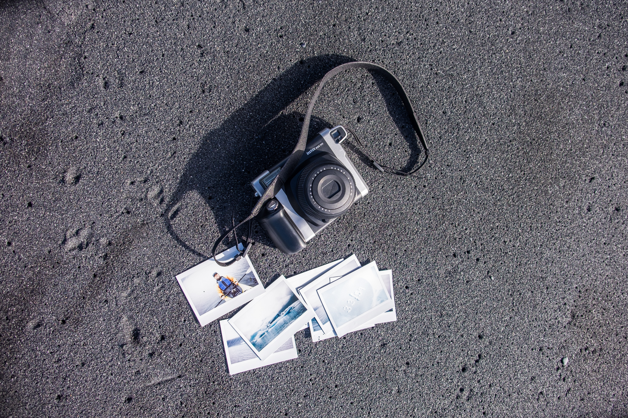 Instaxing on the beach in Kenai Fjords National Park in Alaska.