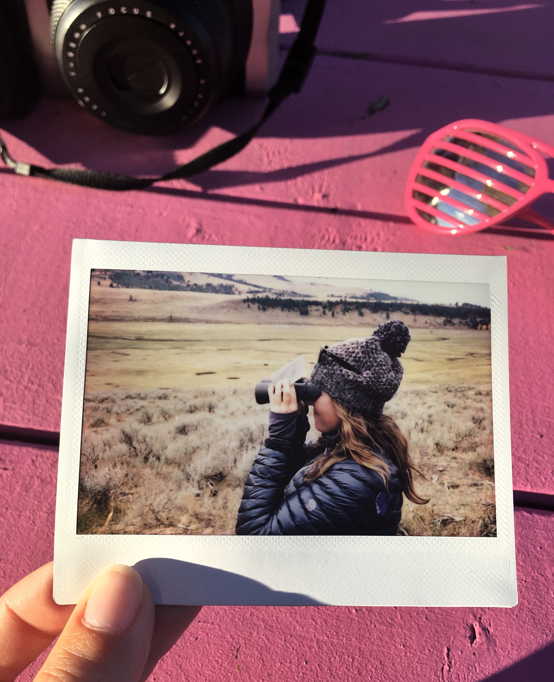Stefanie sometimes shares her camera so her photo can be captured with Instax too. <3