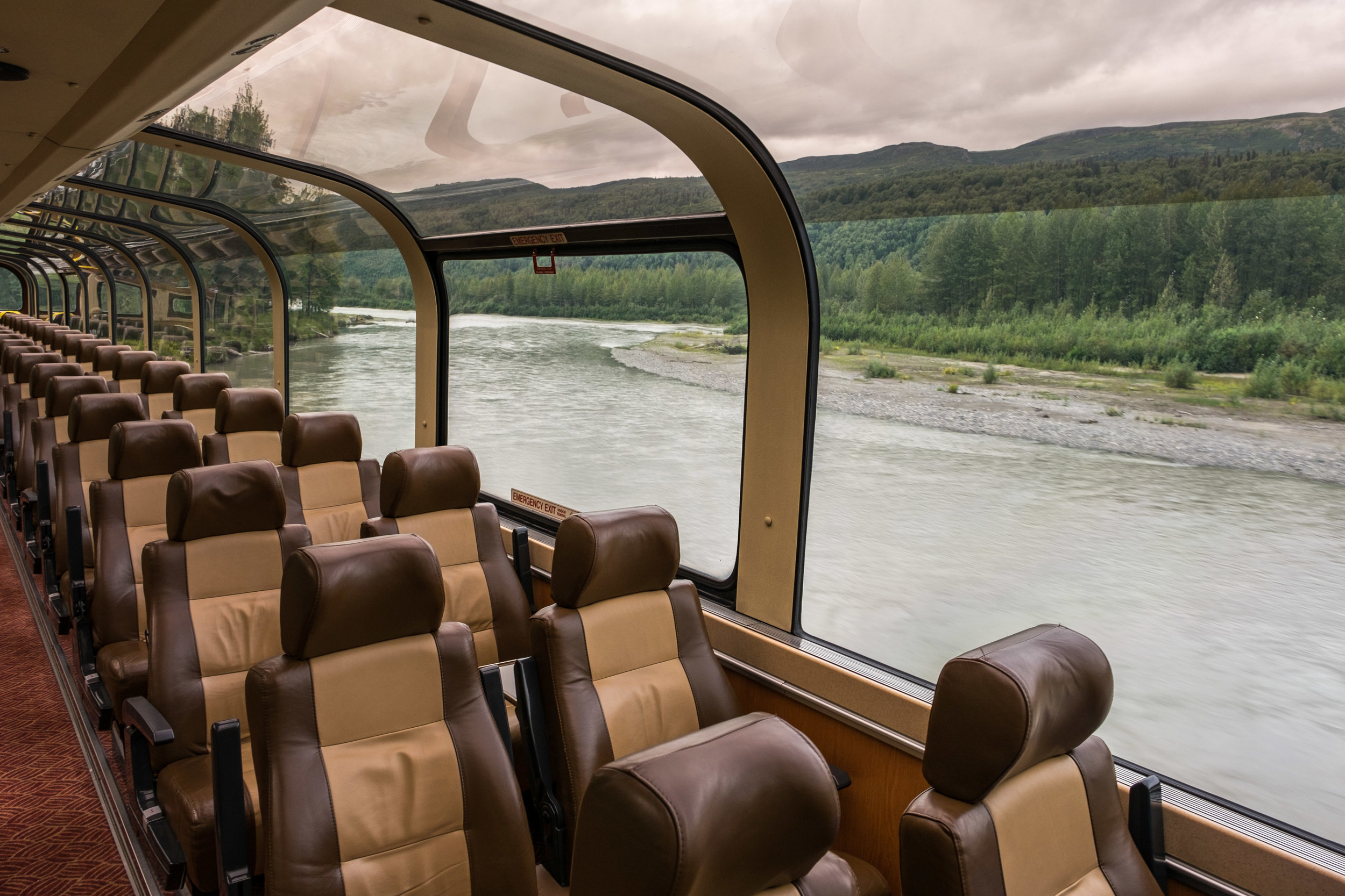 Inside the dome car of the Wilderness Express while traveling the Alaska Railway.