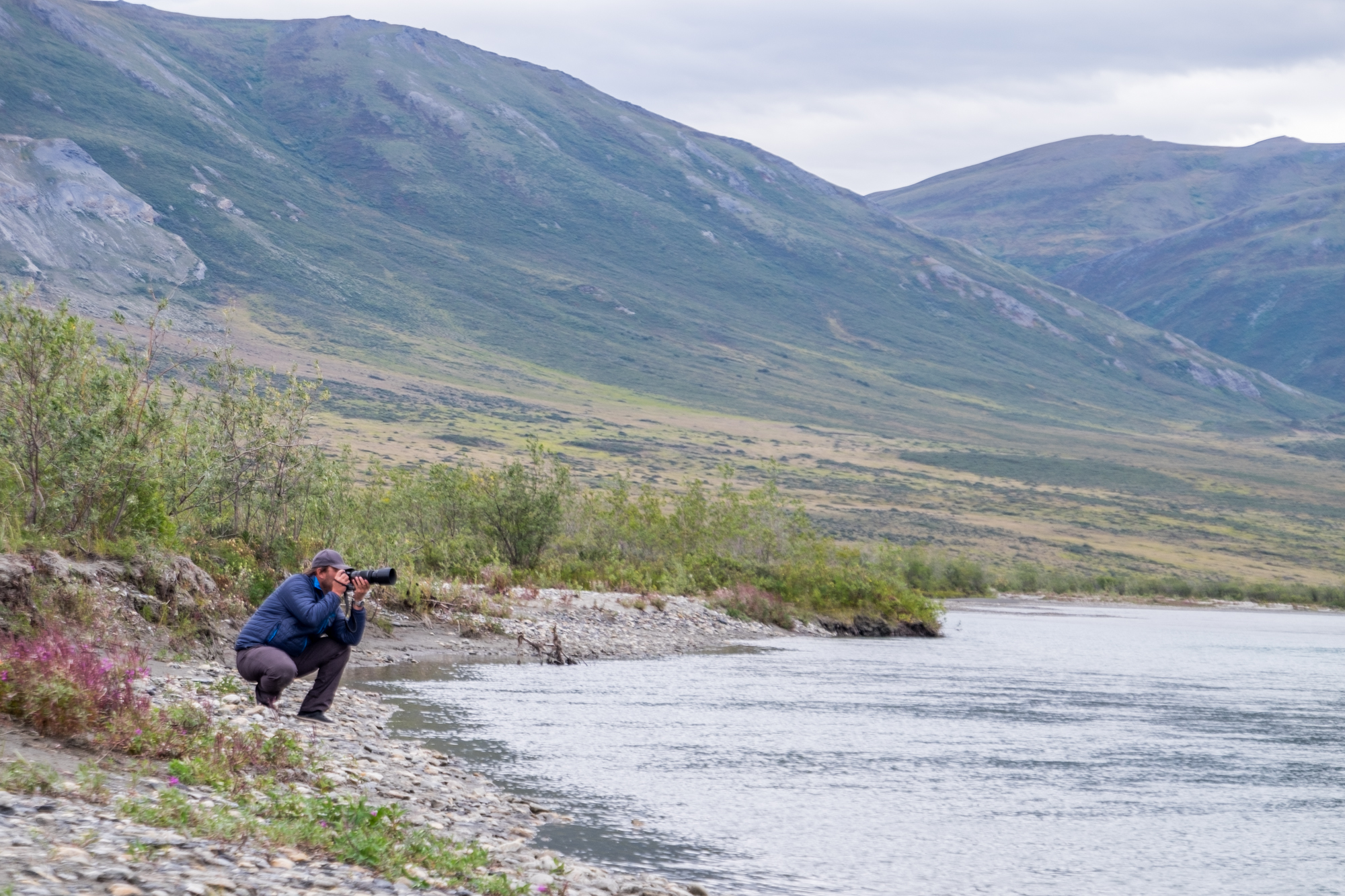 Jonathan shooting with his X-T1 on the banks of the Noatak River in Gates of the Arctic.