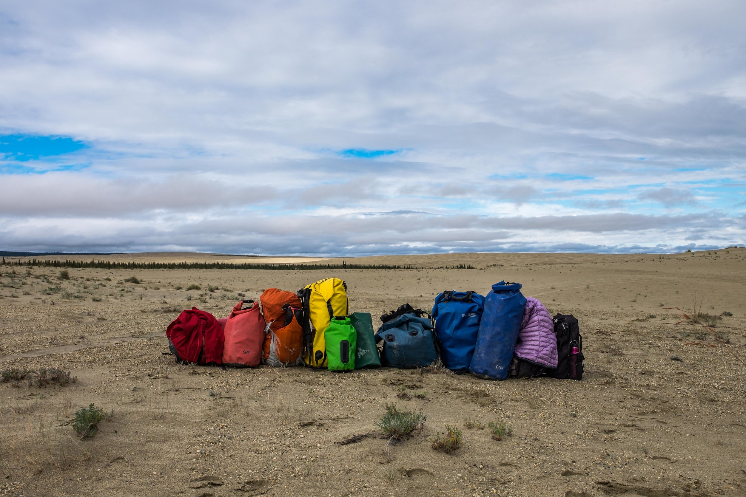 Our gear for the four days we are there....arranged in a rainbow!